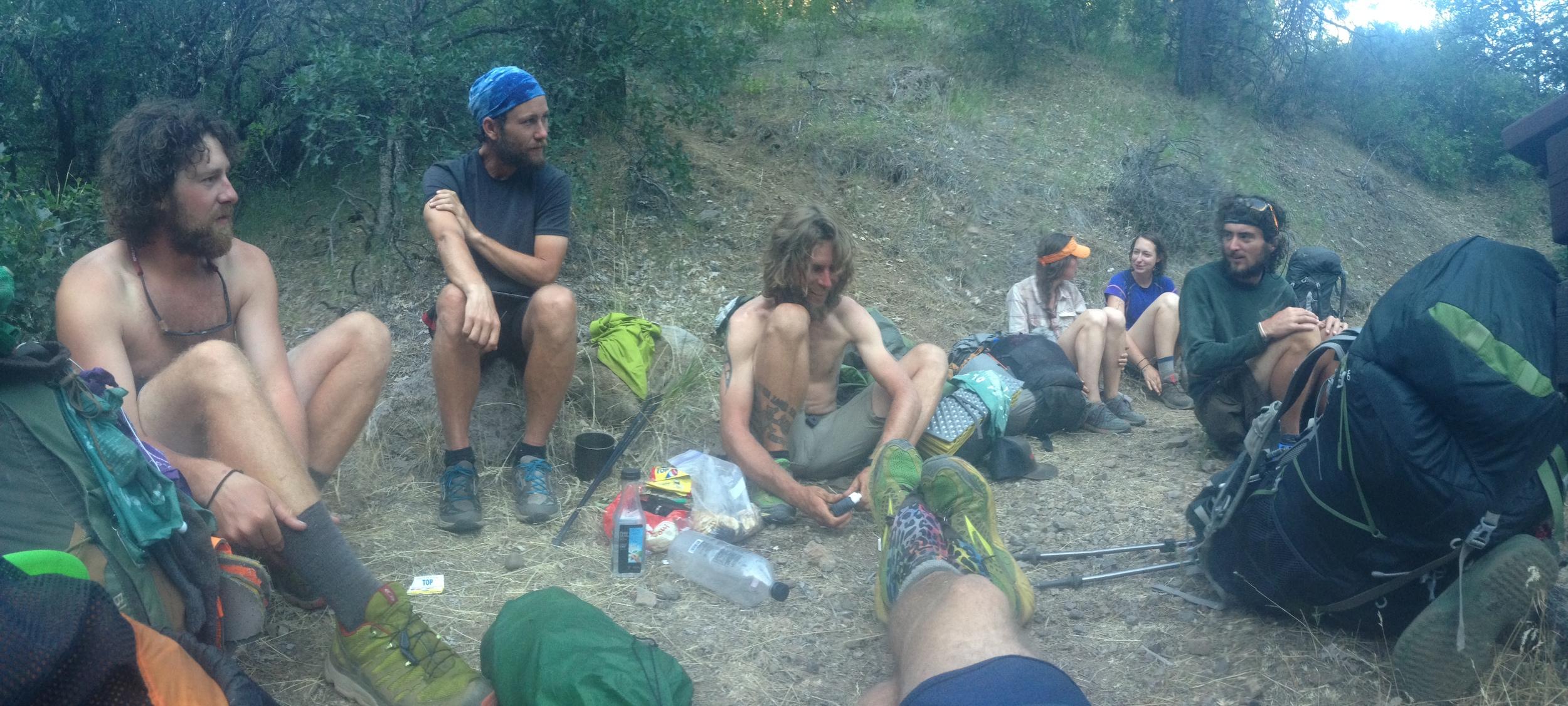 Hiker trash gathering at a watering hole.