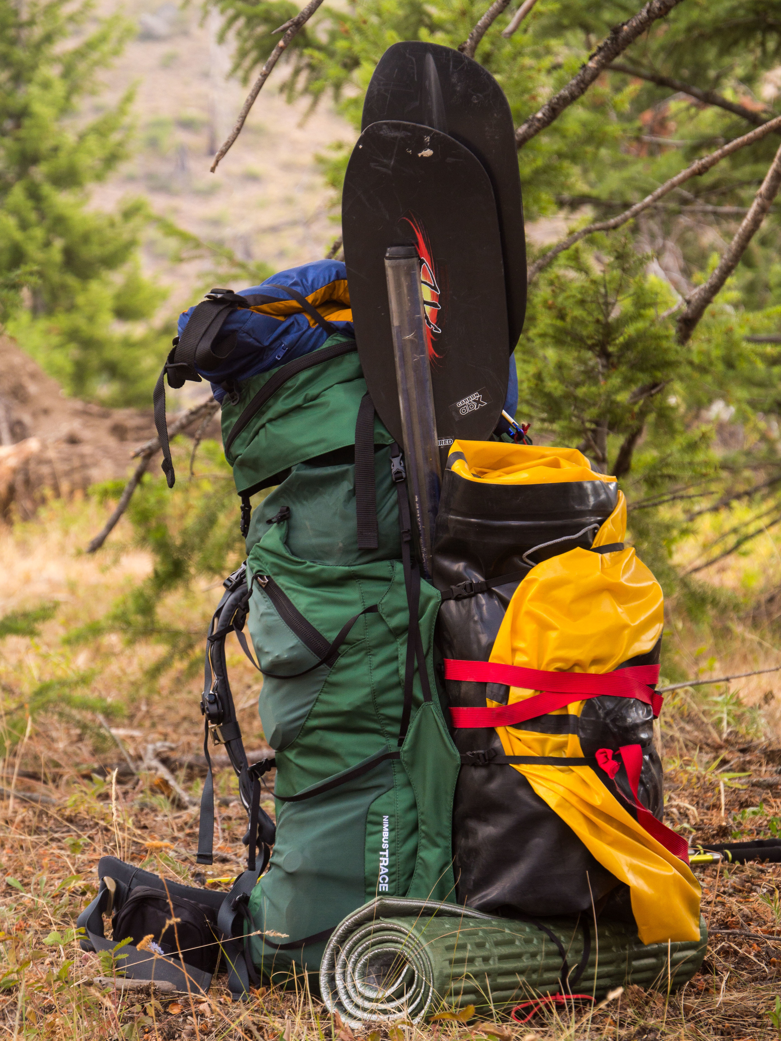 A loaded down Granite Gear pack full of packrafting gear. This is not ultralight.
