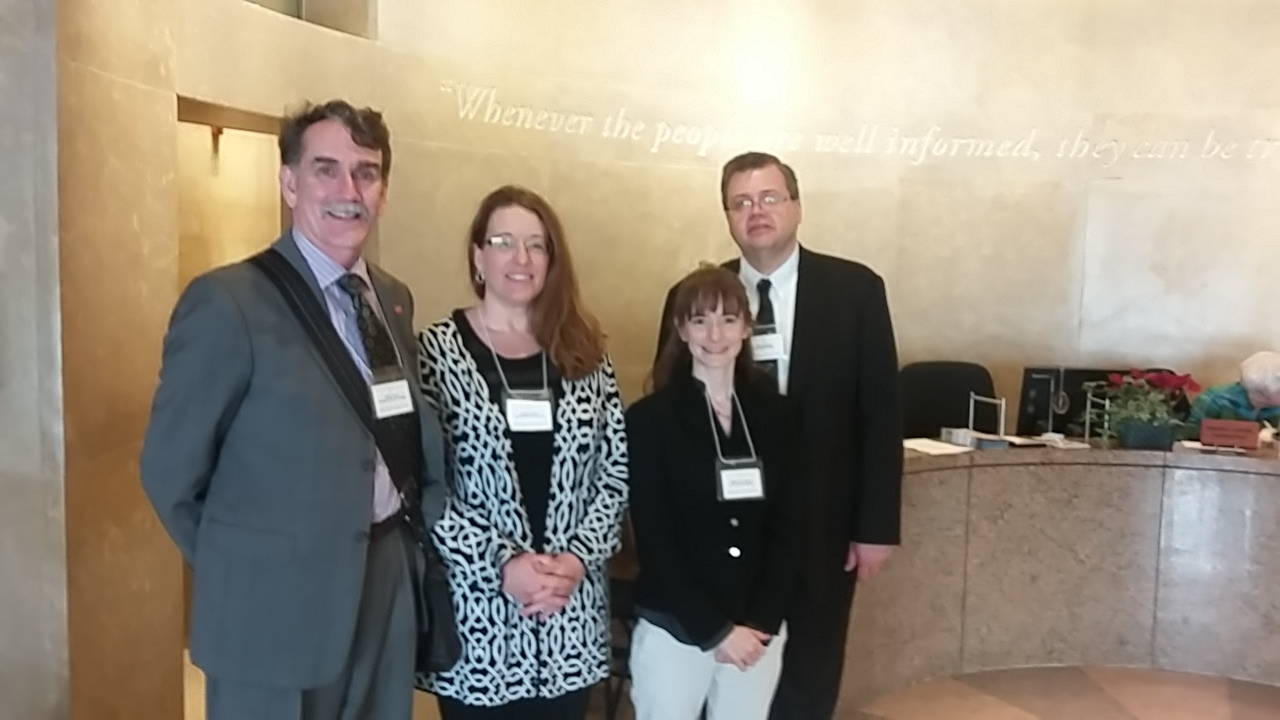 From left: Brian Turner (Randolph-Macon College), Colleen Taylor (Virginia State), Rebecca Pompano (UVA), Gerry Sherayko (Randolph College, President of VA Conference of American Association of University Professors)