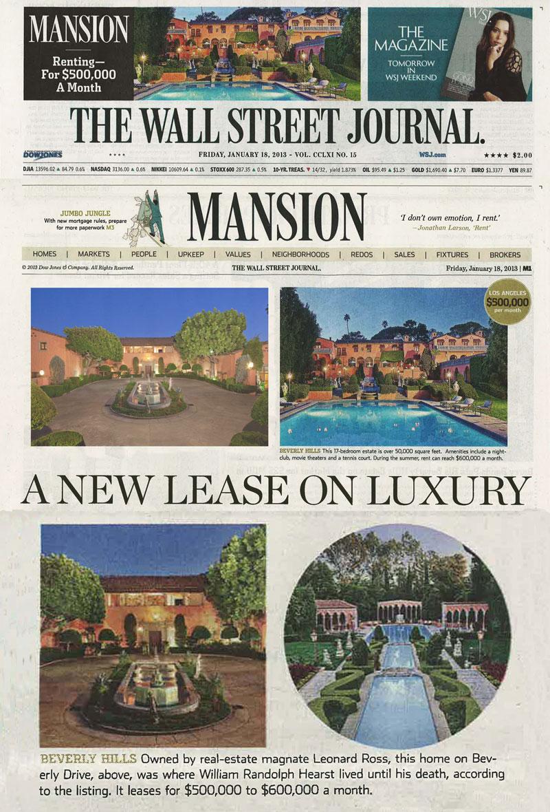 Wall Street Journal newspaper in print, WSJ mansion section.jpg