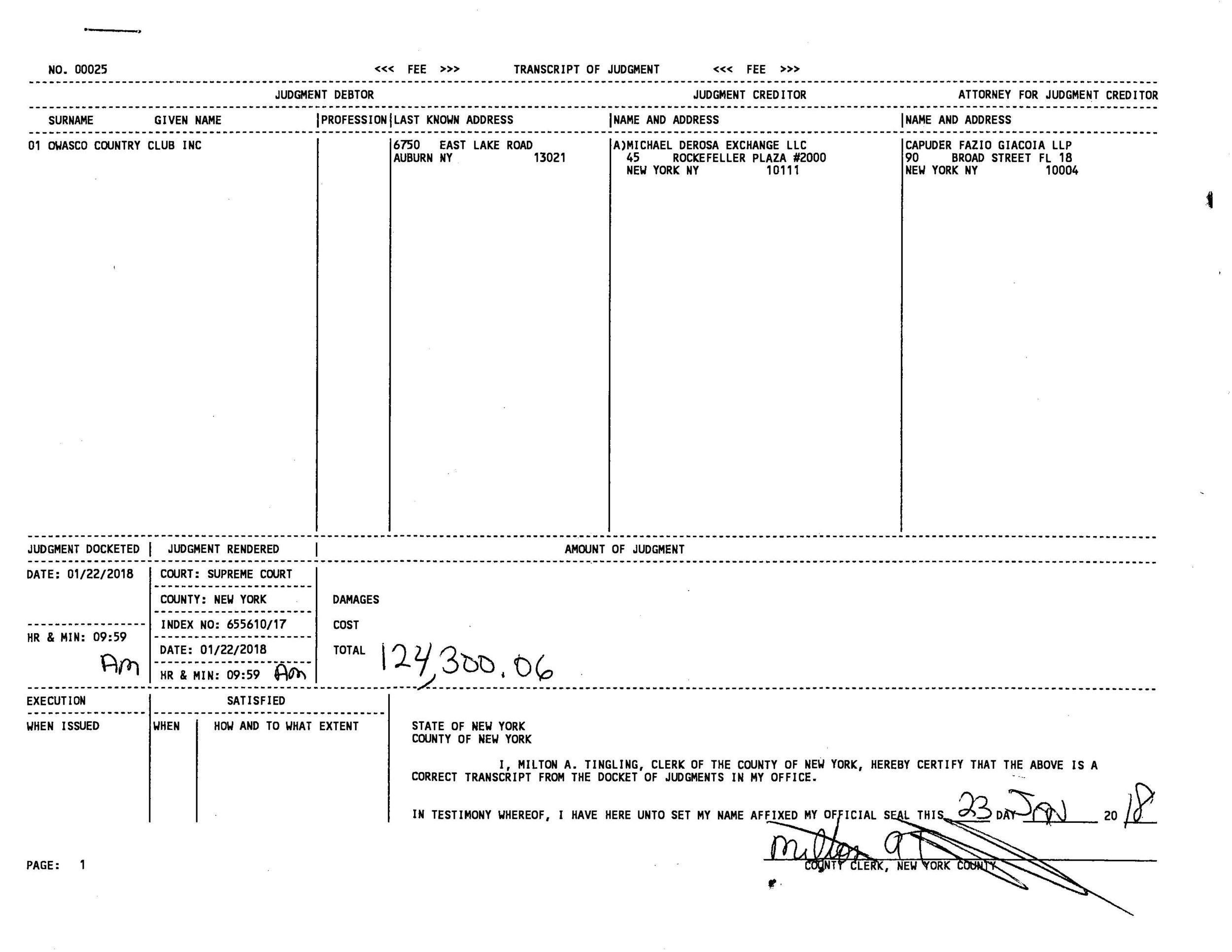 Transcript of Judgment (Michael DeRosa Exchange, LLC vs Owasco Country Club, Inc.)_Page_1.jpg