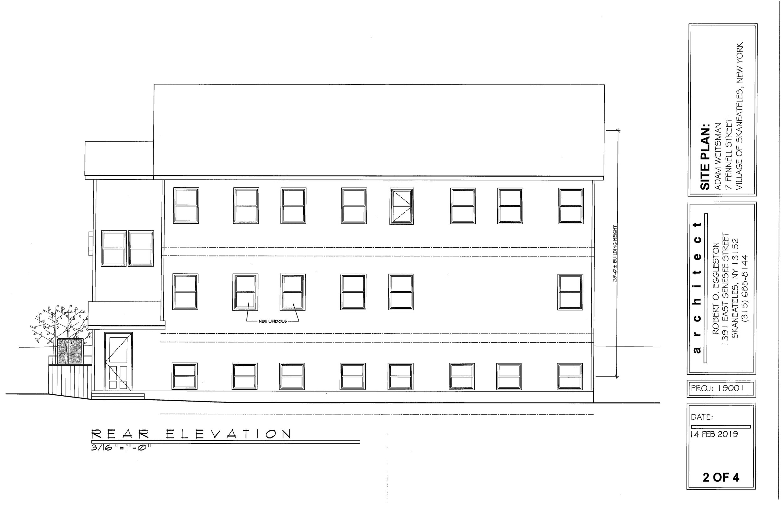 Rear Elevation Architectural Drawing 7 Fennell Street Skaneateles Commercial Real Estate For Sale Michael DeRosa Licensed Real Estate Broker of Michael DeRosa Exchange, LLC.jpg