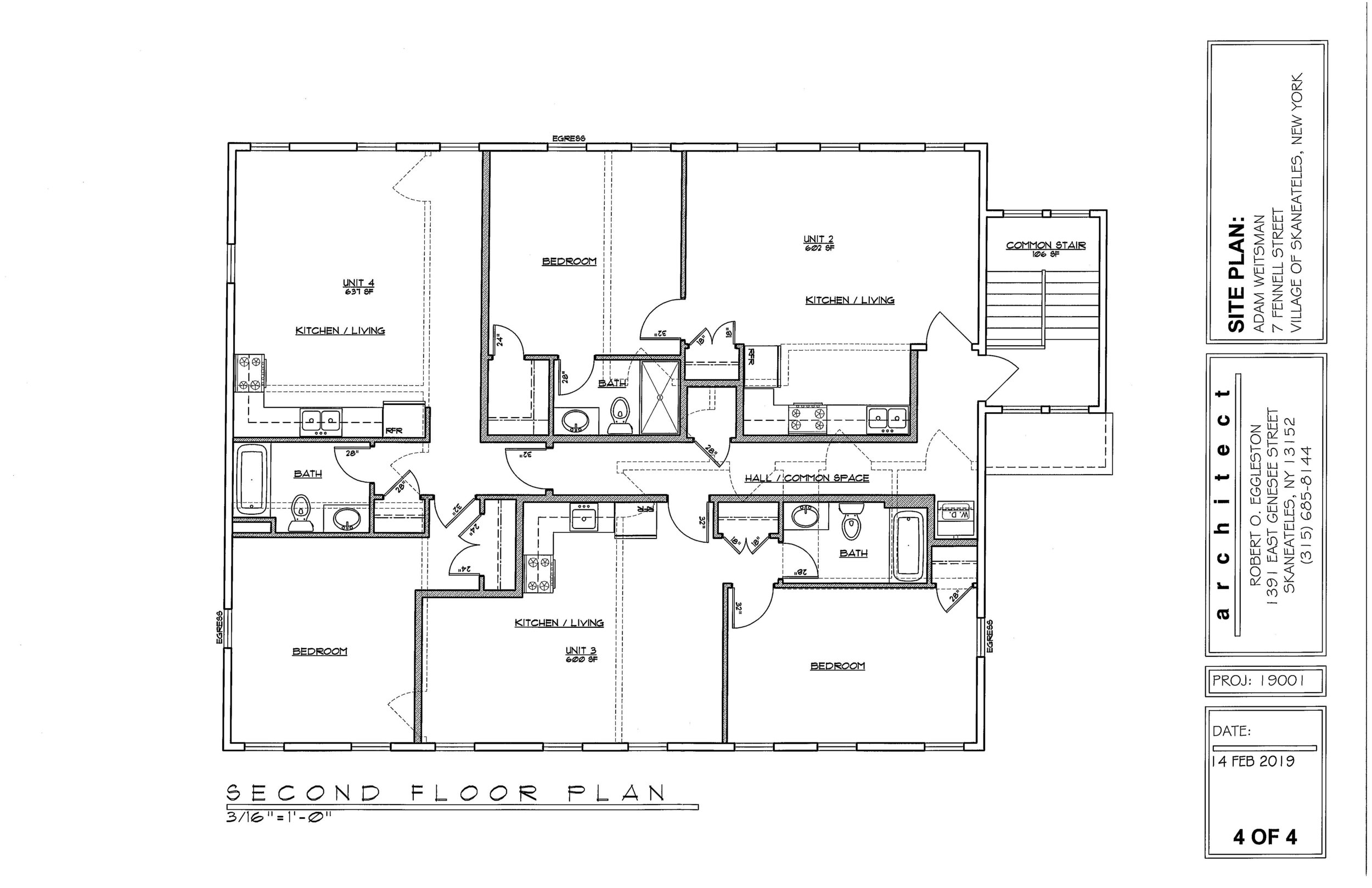 PROPOSED PLAN FOR RE-DEVELOPMENT - 3 APARTMENTS ON FLOOR 2