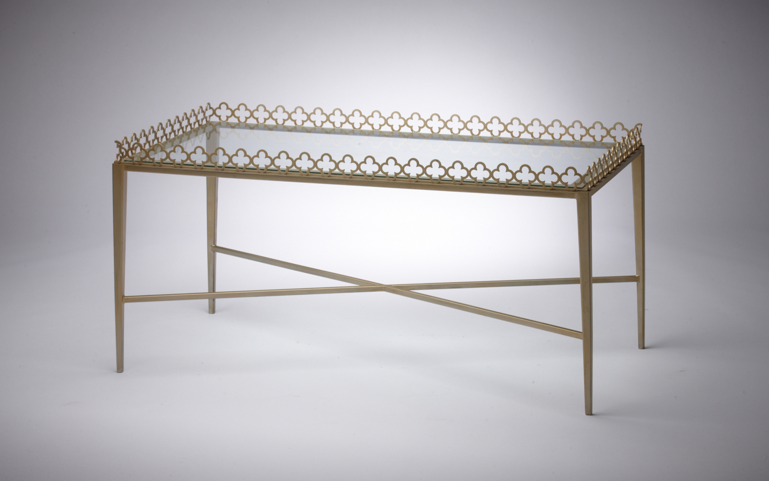 """Jolie Table - Size: 24""""Wx48""""Lx18""""H. Made in USA. Can be custom sized and finished."""