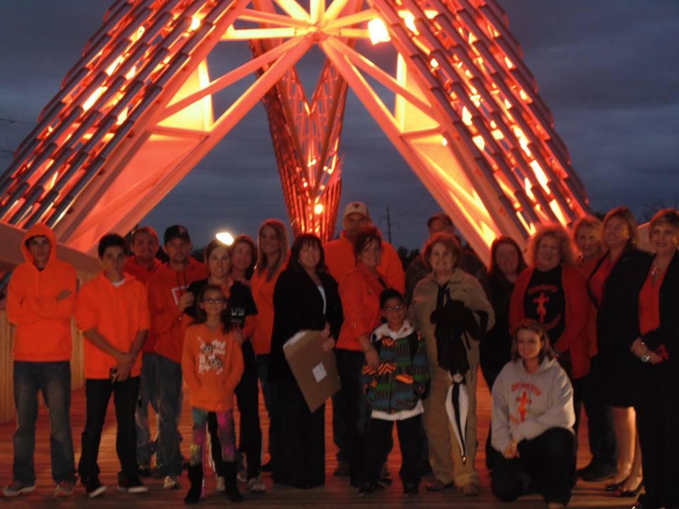 The SkyDance Bridge in Oklahoma City lit orange during Color The World Orange™ 2014