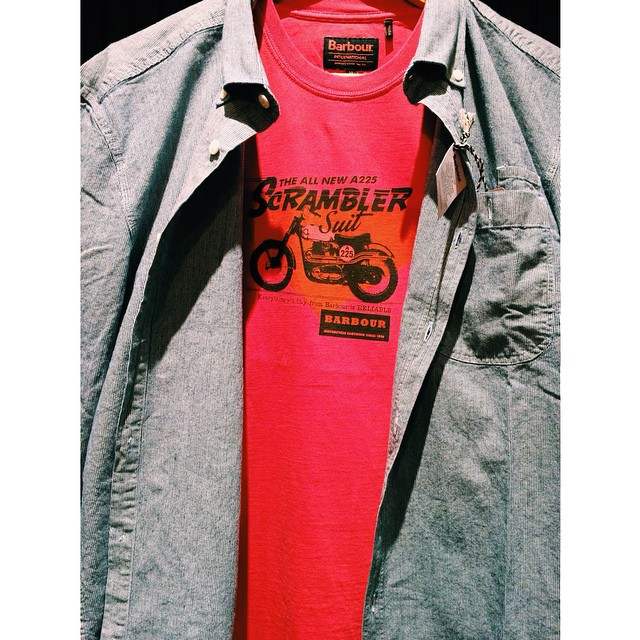 Barbour's bright colors are cheering us up on this gloomy day. Full spring line now in stock!! #barbour #barbourinternational #ss15 #scrambler #menswear