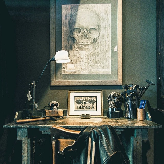 Anyone think they have an idea what Mike used to create the skeleton portrait in this image?  Head over to our Facebook around noon (central) and answer. First person to get closest to the answer gets 10% off their next order. Hint: it's not pencil.  #skeleton #art #retail #picoftheday #prize