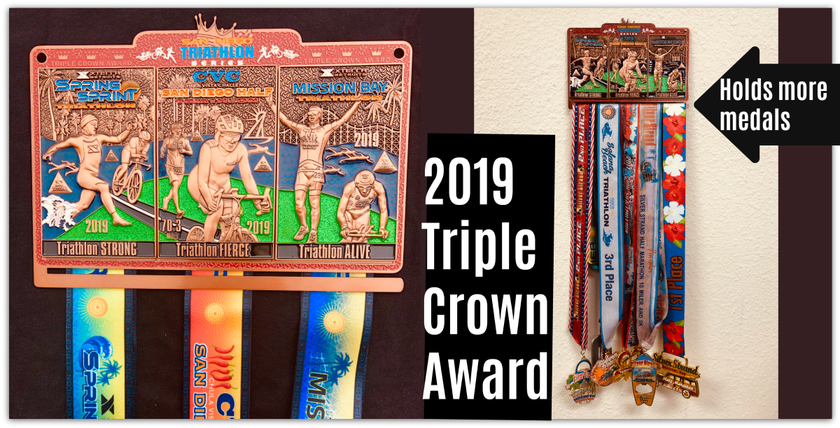 Medals from the 3 Triple Crown Events come together to form Triathlon Art for your wall. As an Added Bonus, this years award also holds more event medals for your display.