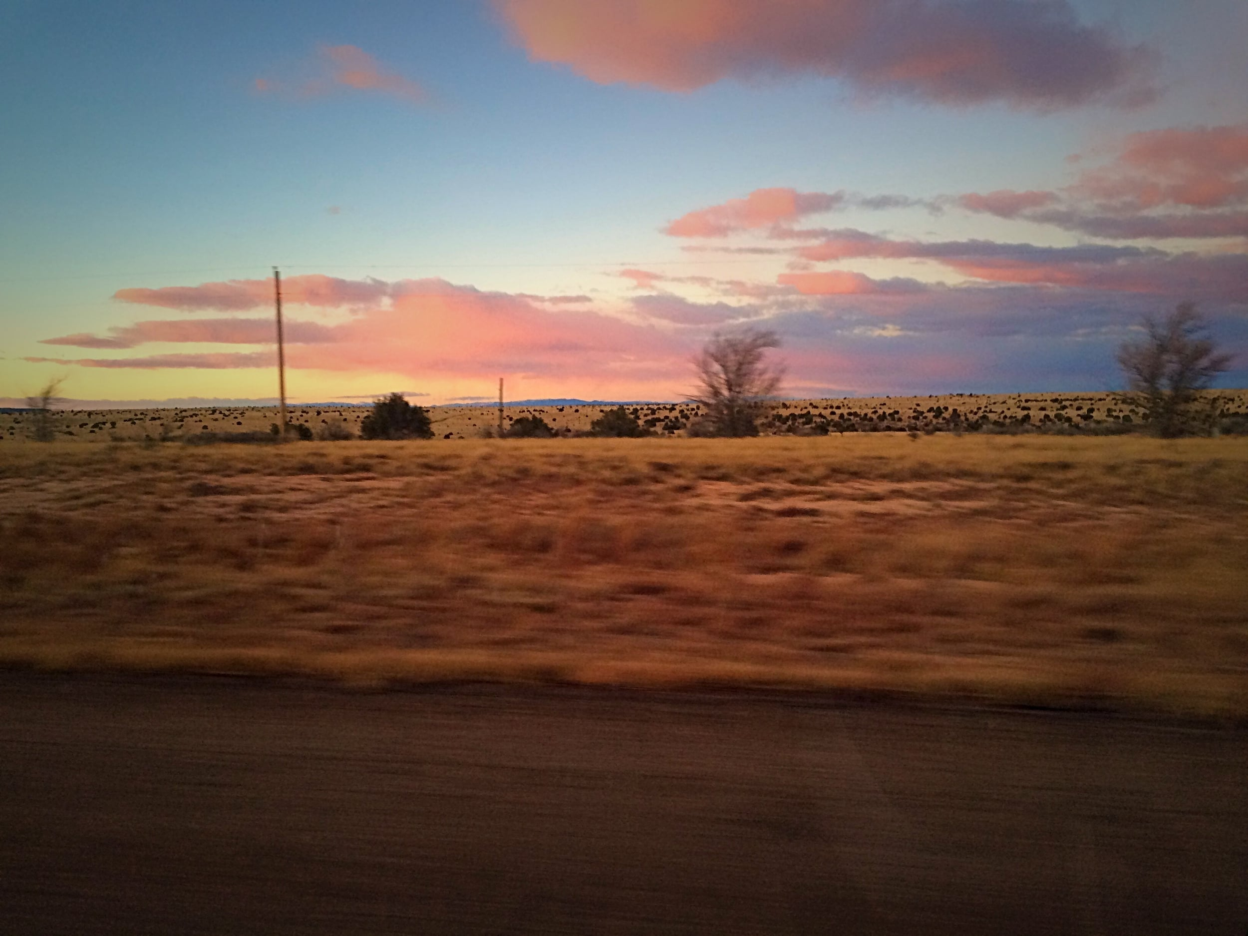 Starting the year with a road trip to Arizona, this is somewhere in Texas in the evening. We were chasing the sun.