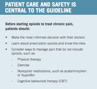 The  CDC recommends  behavioral therapy as part of a chronic pain management strategy.