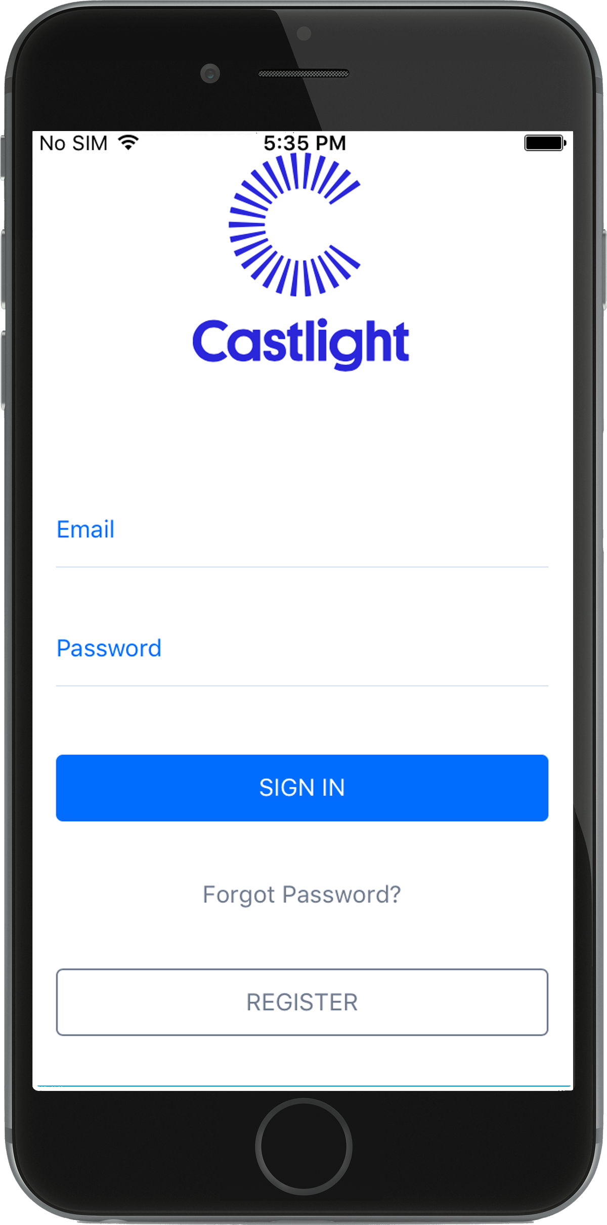 1 Castlight Login screen in phone.png