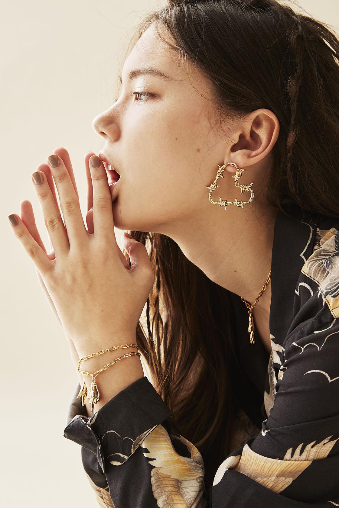Triple Sign Bracelet, Ringo Necklace, Fetish Earrings
