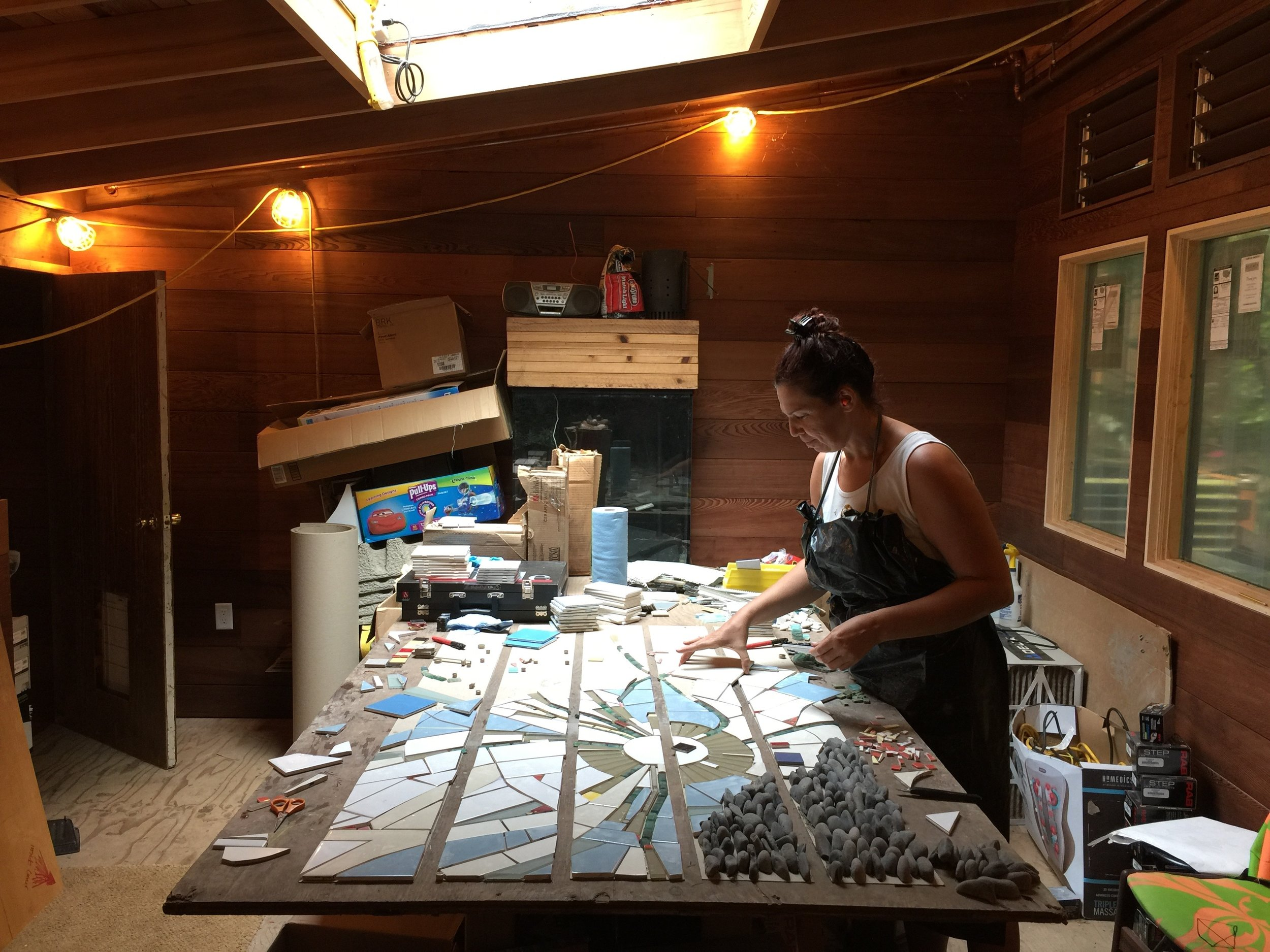 Above: Dandelion stair set being assembled by Maya.