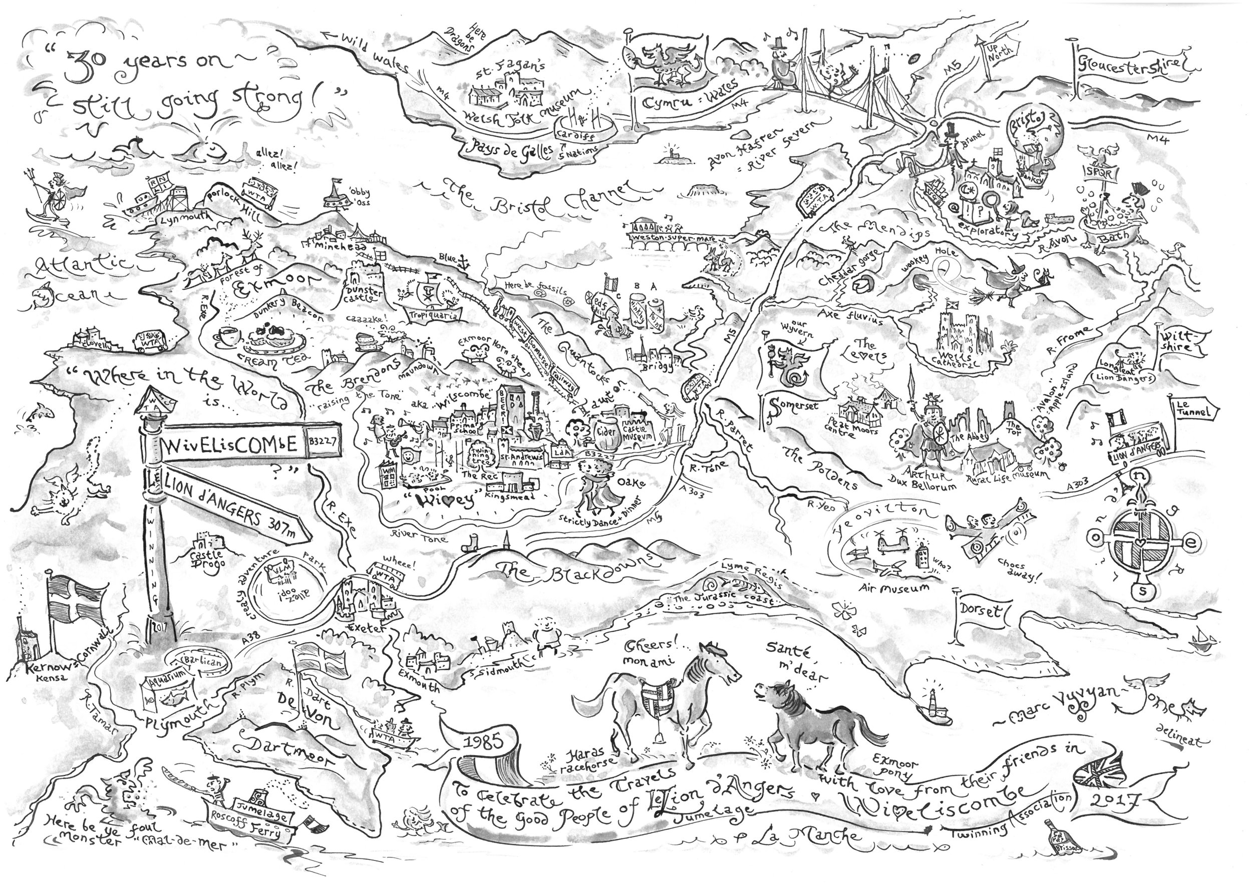 A map of the West Country showing the travels and adventures of the Twinners of Le Lion d'Angers and Wiveliscombe over the decades, included in a commemorative book presented to the French visitors. Working in black ink with a dip pen, and using a brush to create a wash is a satisfying alternative to using colour.