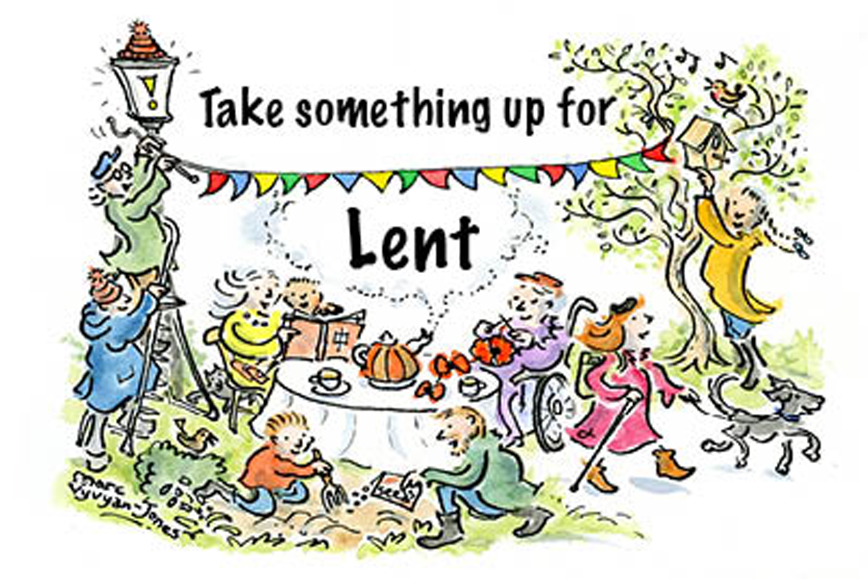 Illustration for a 'take something up for Lent' project, used as cover artwork