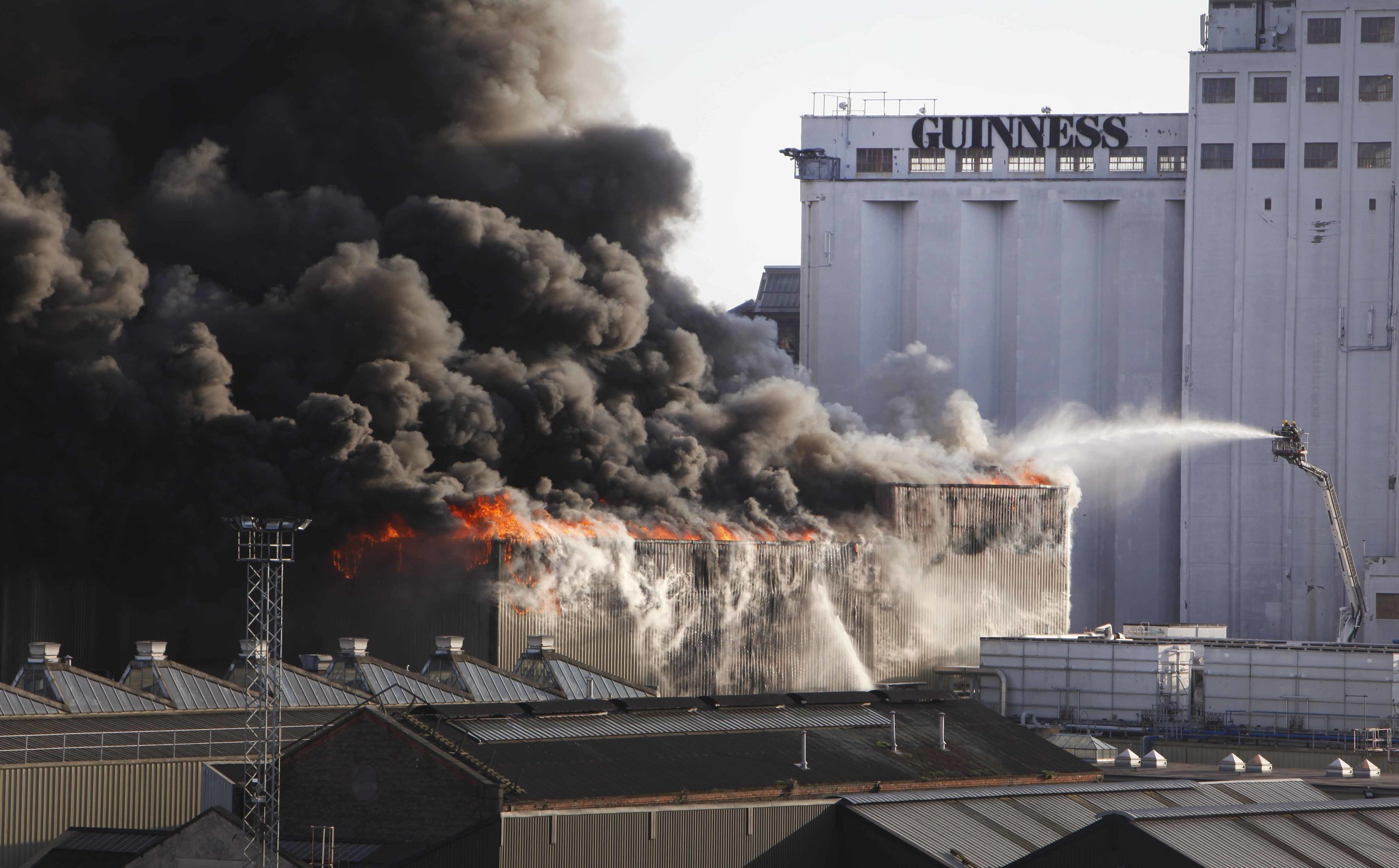 Fire engulfs the Guinness factory in Dublin