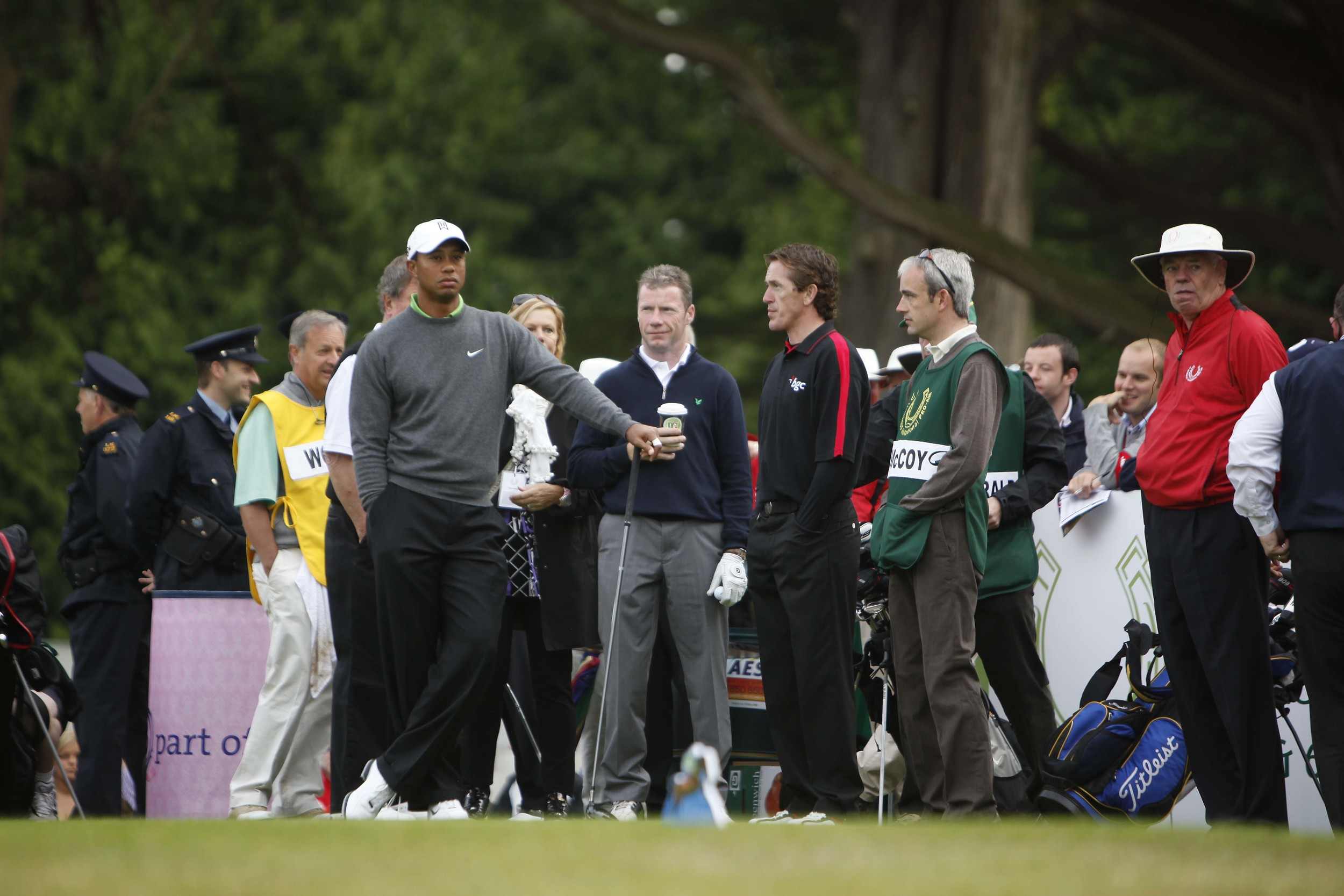 Irish champion jockeys, Mick Fitzgerald, Tony McCoy andRuby Walsh seem star struck by Golfer Tiger Woods at Pro Am
