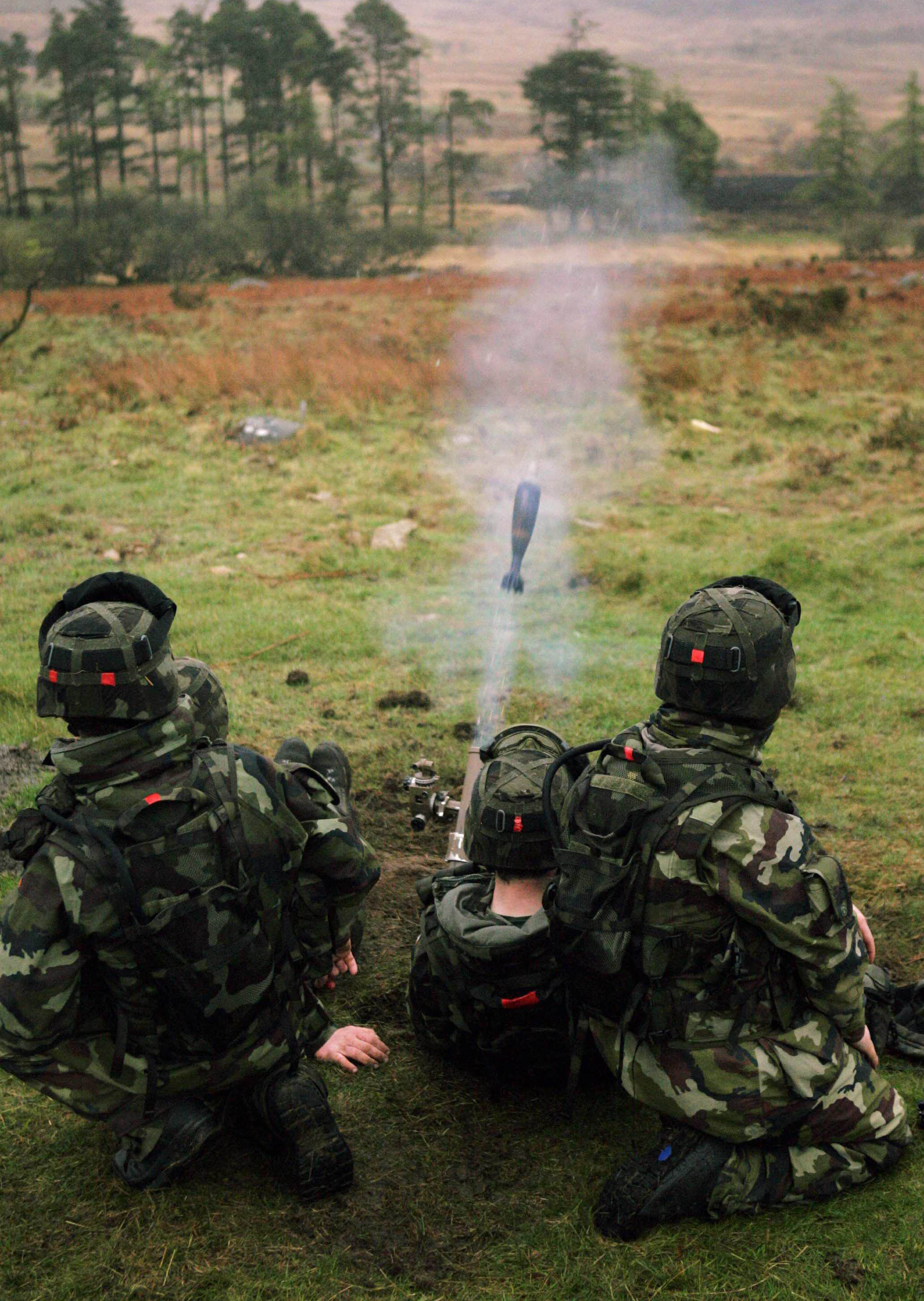 A 60mm Vector Mortar shoots out, as the 100th infantry take part in overseas training for Chad at the Glen of Imaal in Wicklow