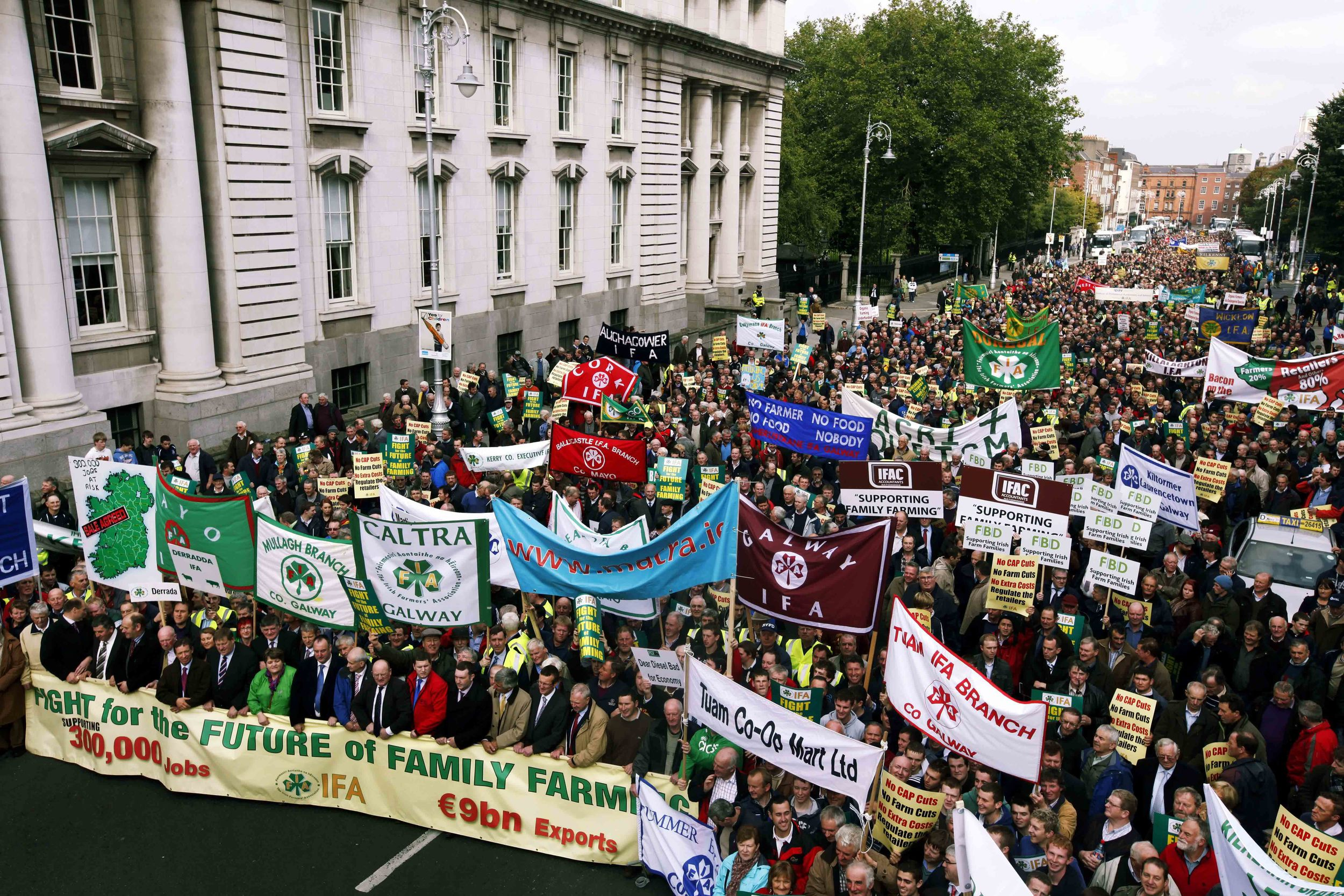 30,000 (IFA) Irish Farmers Associations Members protest in Dublin.