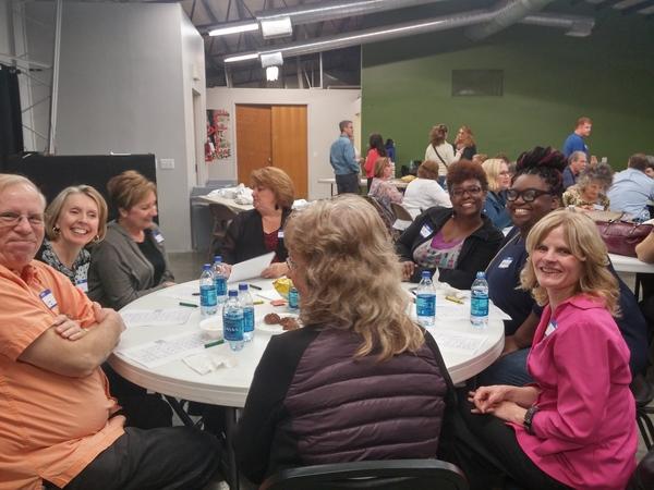 One of many tables enjoying singing bingo!