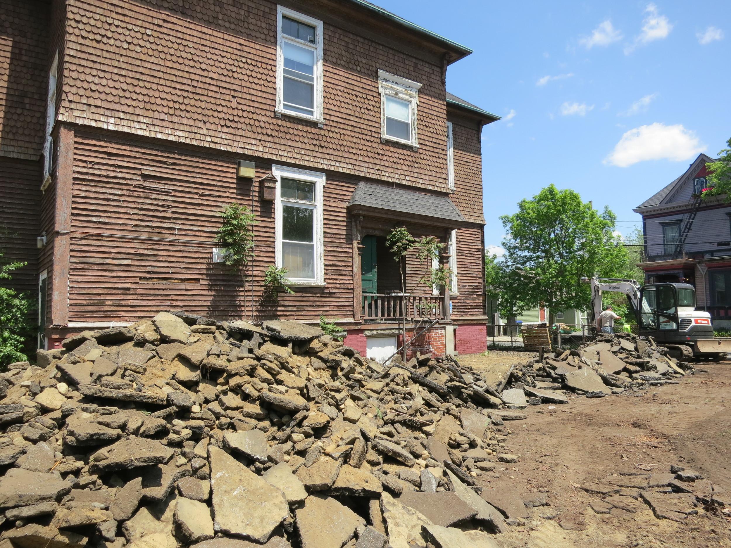Depaving begins! Large lot = lots of asphalt. Photo credit: Providence Revolving Fund