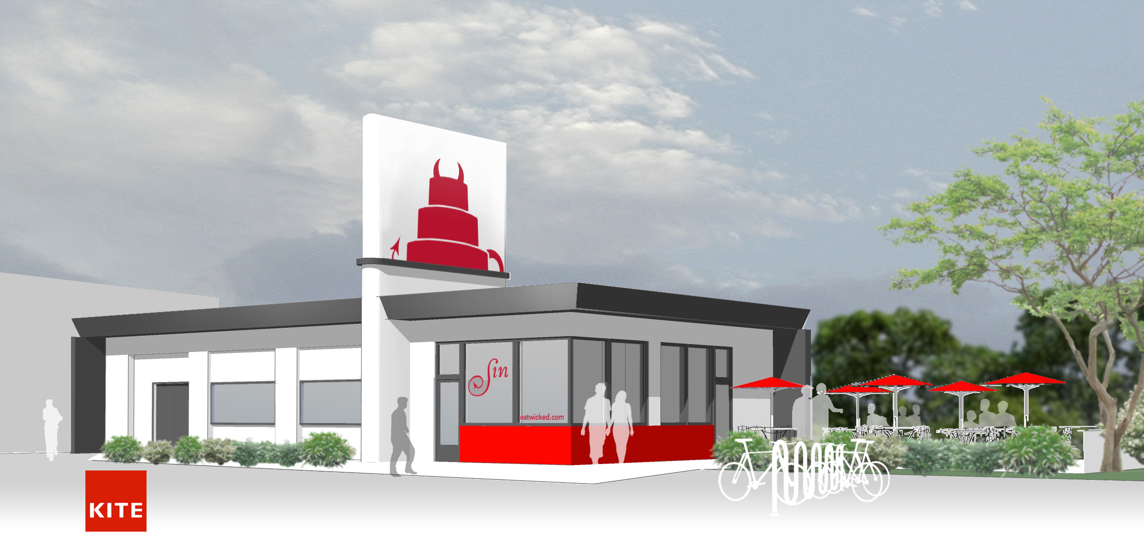 2013 rendering of proposed location for Sin Bakery by design winner Christine West, KITE Architects