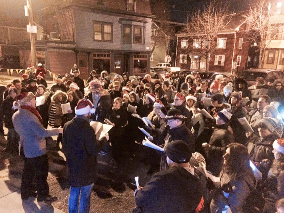 Caroling in Luongo Square, pre-fountain (2015)  Photo Credit: Elaine Collins