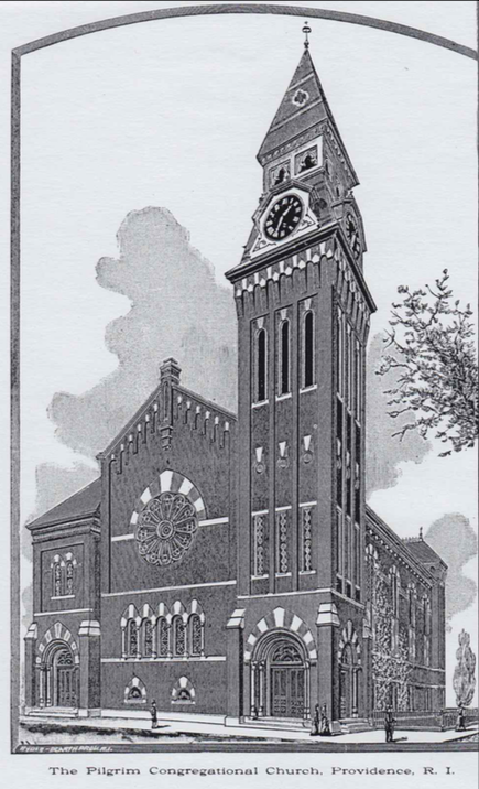 The original building: Pilgrim Congregational Church, built c. 1870