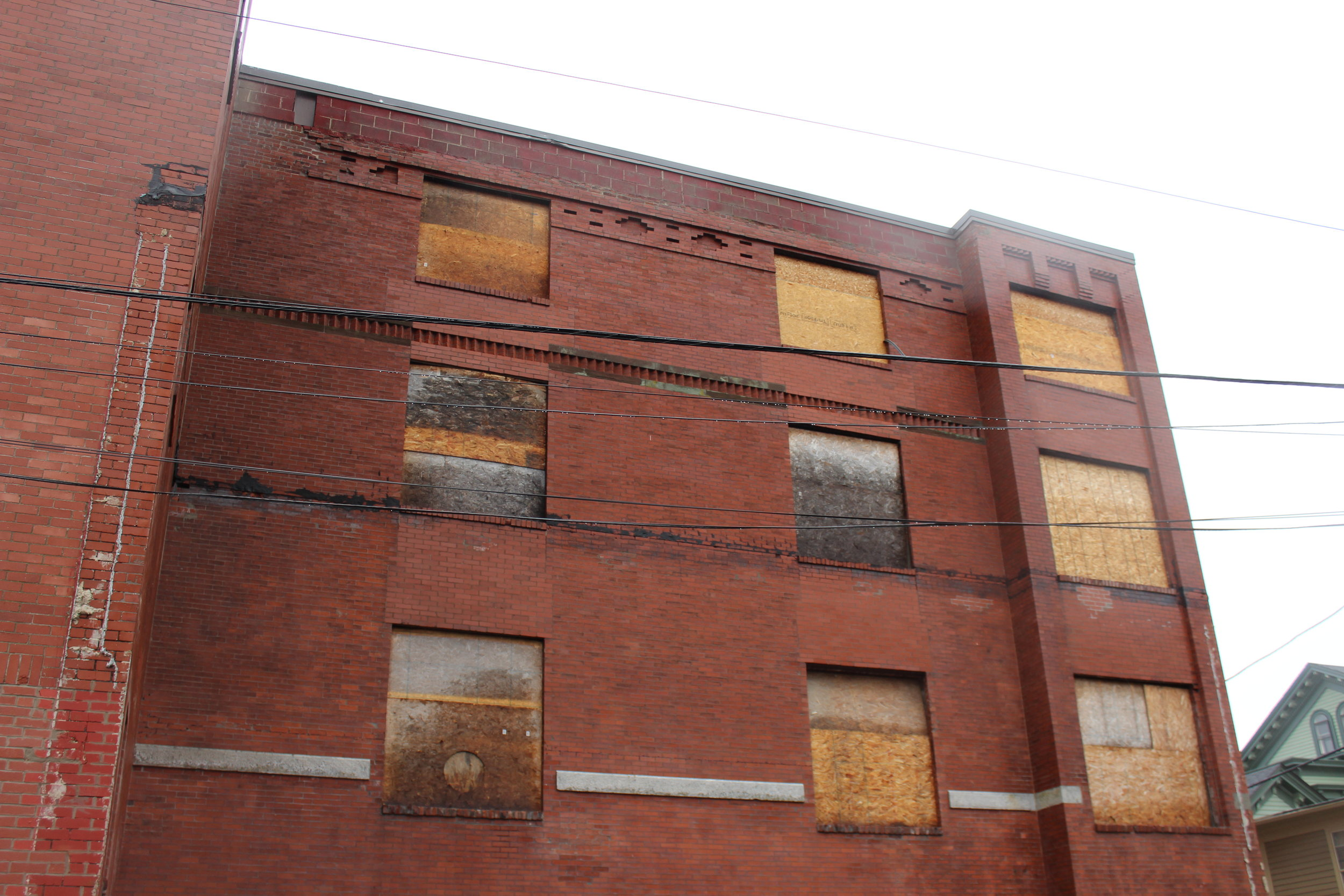 Traces of an addition that had been removed a few years ago from the north elevation (Powhatan Street side)