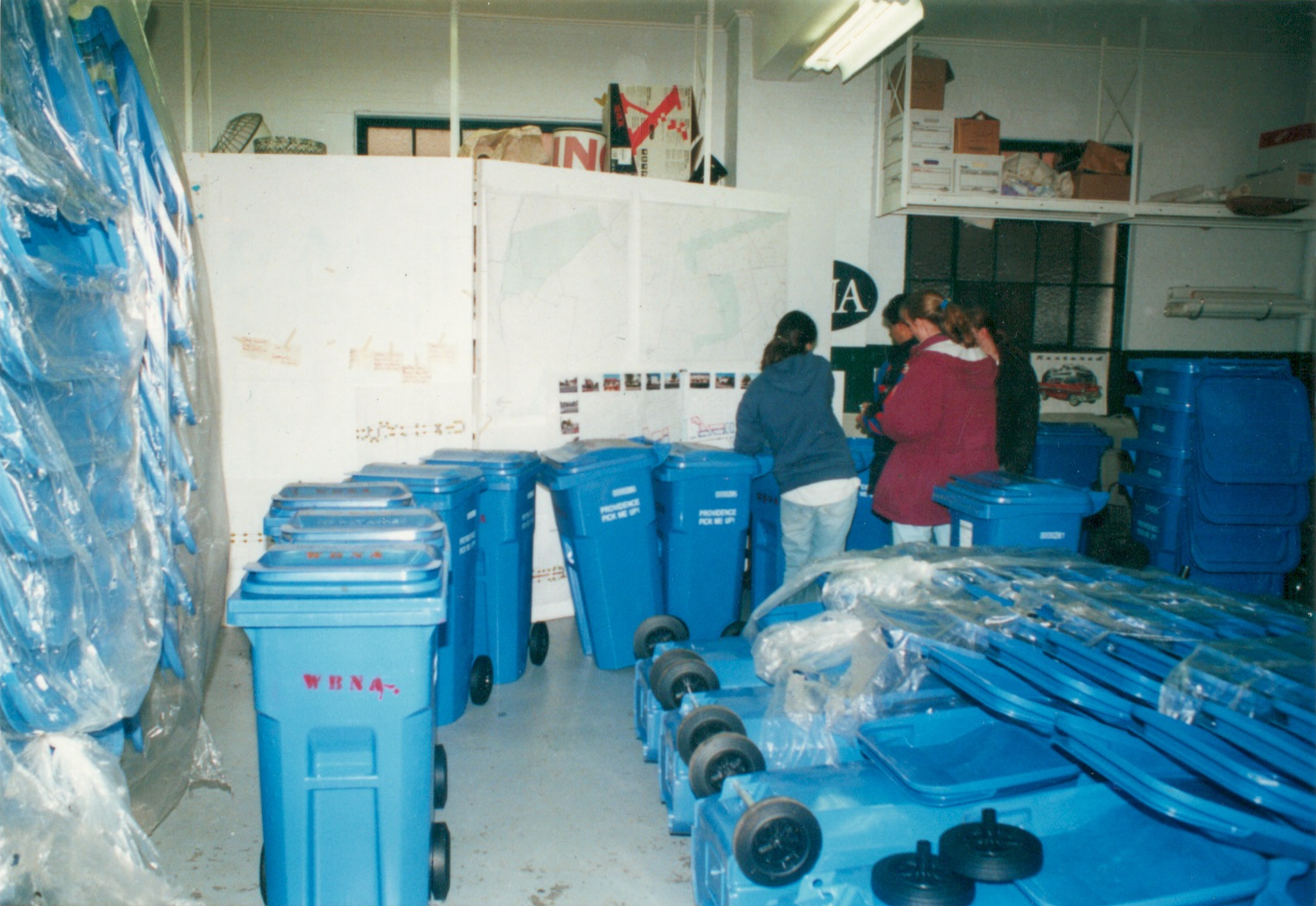 The WBNA pilot program's first batch of rat-proof cans were 33 gallons in capacity and donated by Mayor Vincent A. Cianci and the City of Providence (2000)