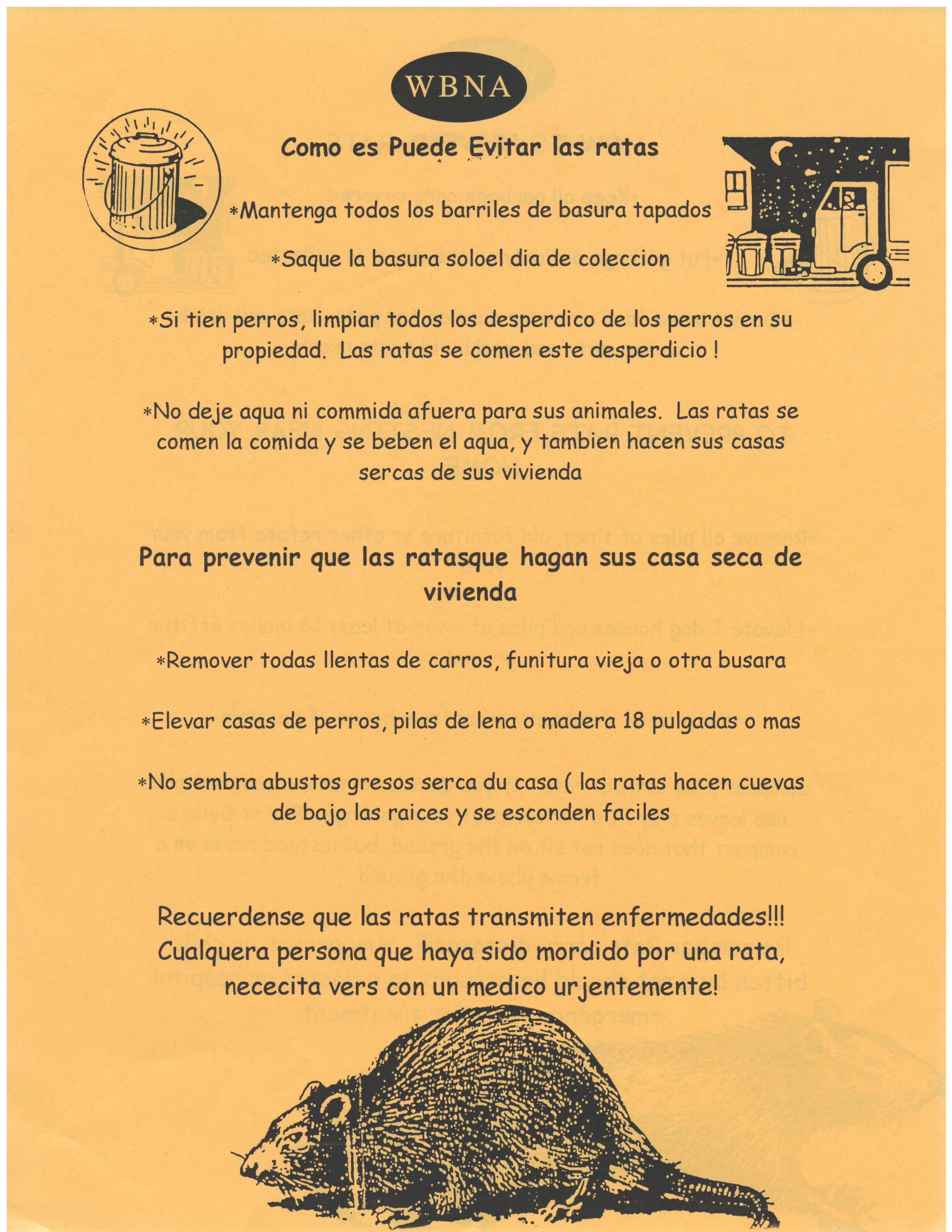 Information sheets available in English, Spanish and Khmer with anti-rat tips
