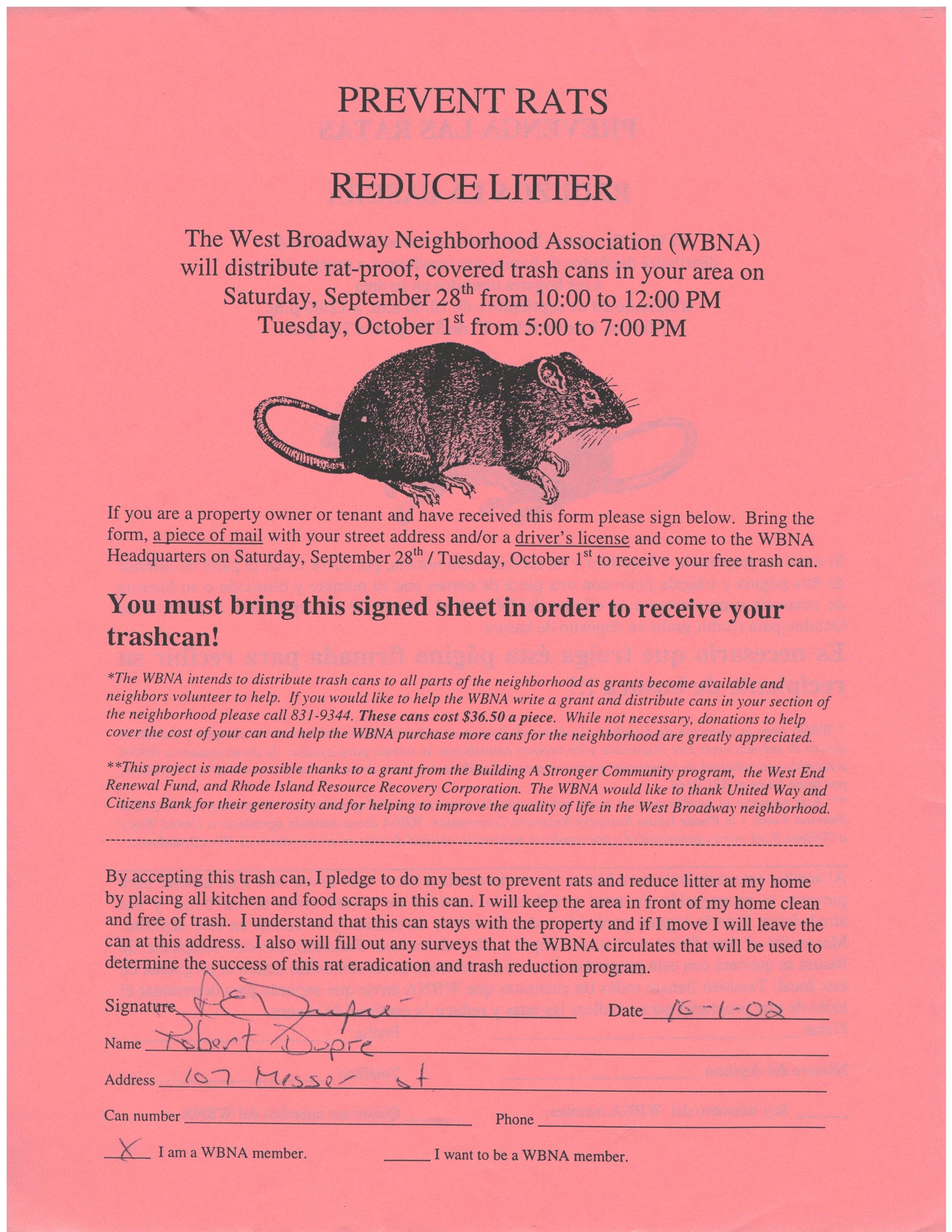Rat-O-Rama volunteers went door to door distributing multi-lingual flyers and sign up forms to neighbors (2002)