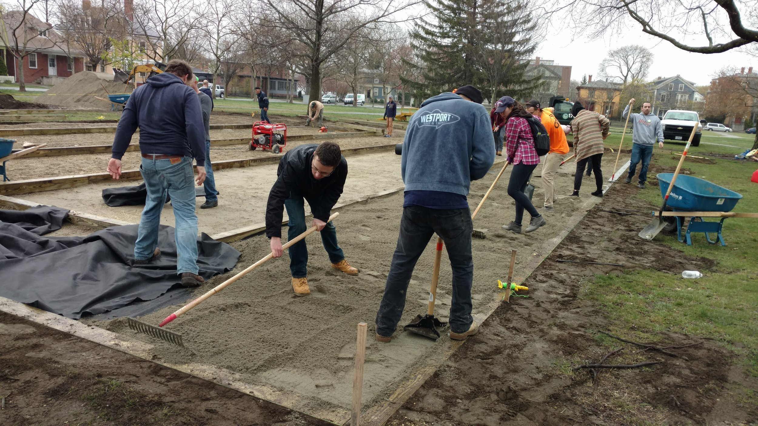 Members of the Rhode Island Chapter of American Society of Civil Engineers show up to help