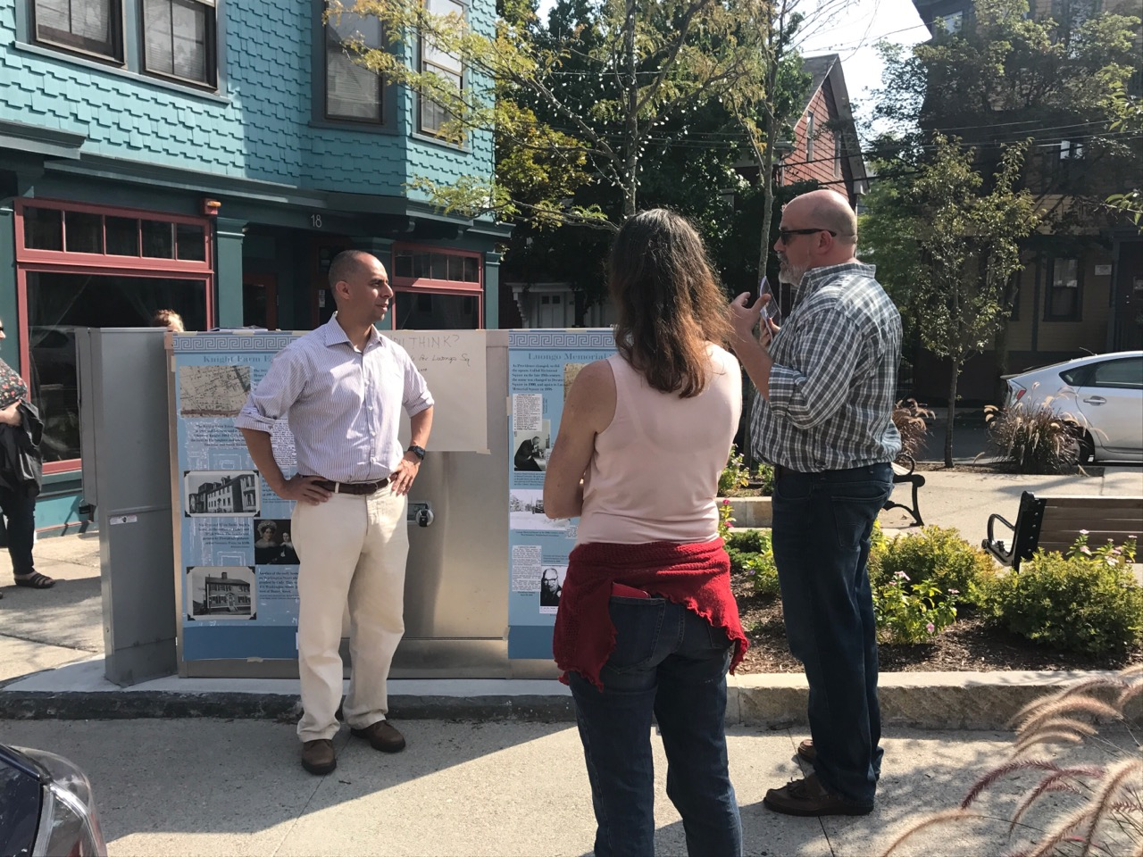 Mayor Jorge Elorza visiting Luongo Memorial Square,the City's newest and perhaps smallest park. Photo by Kari Lang