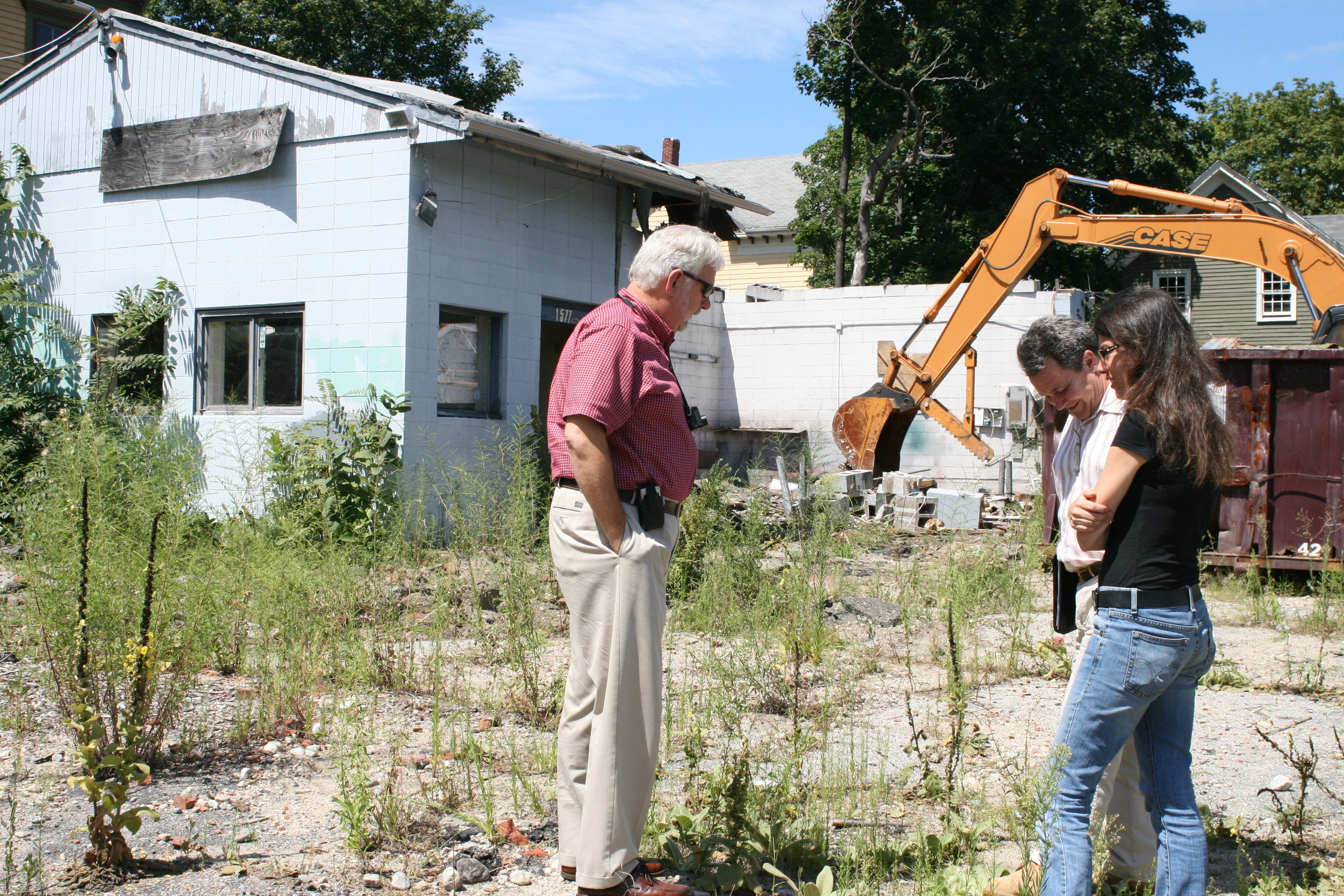 Kari Lang, Executive Director of WBNA, onsite as demolition began.