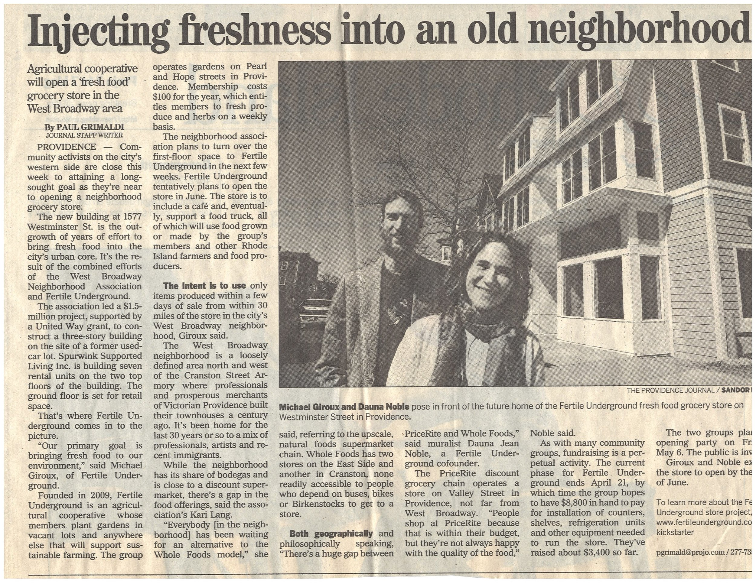 Providence Journal article, spring 2011