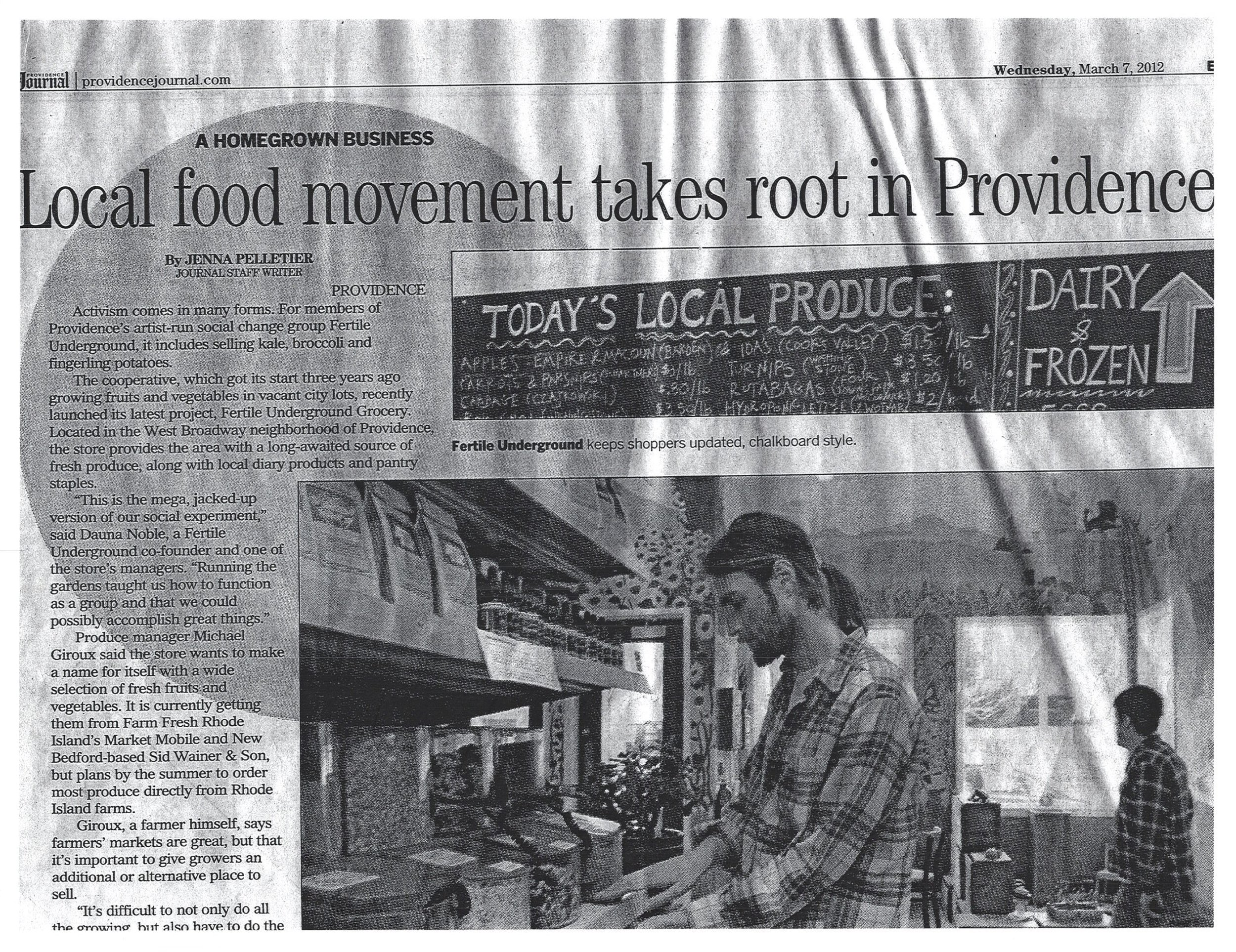 Providence Journal article, March 7, 2012
