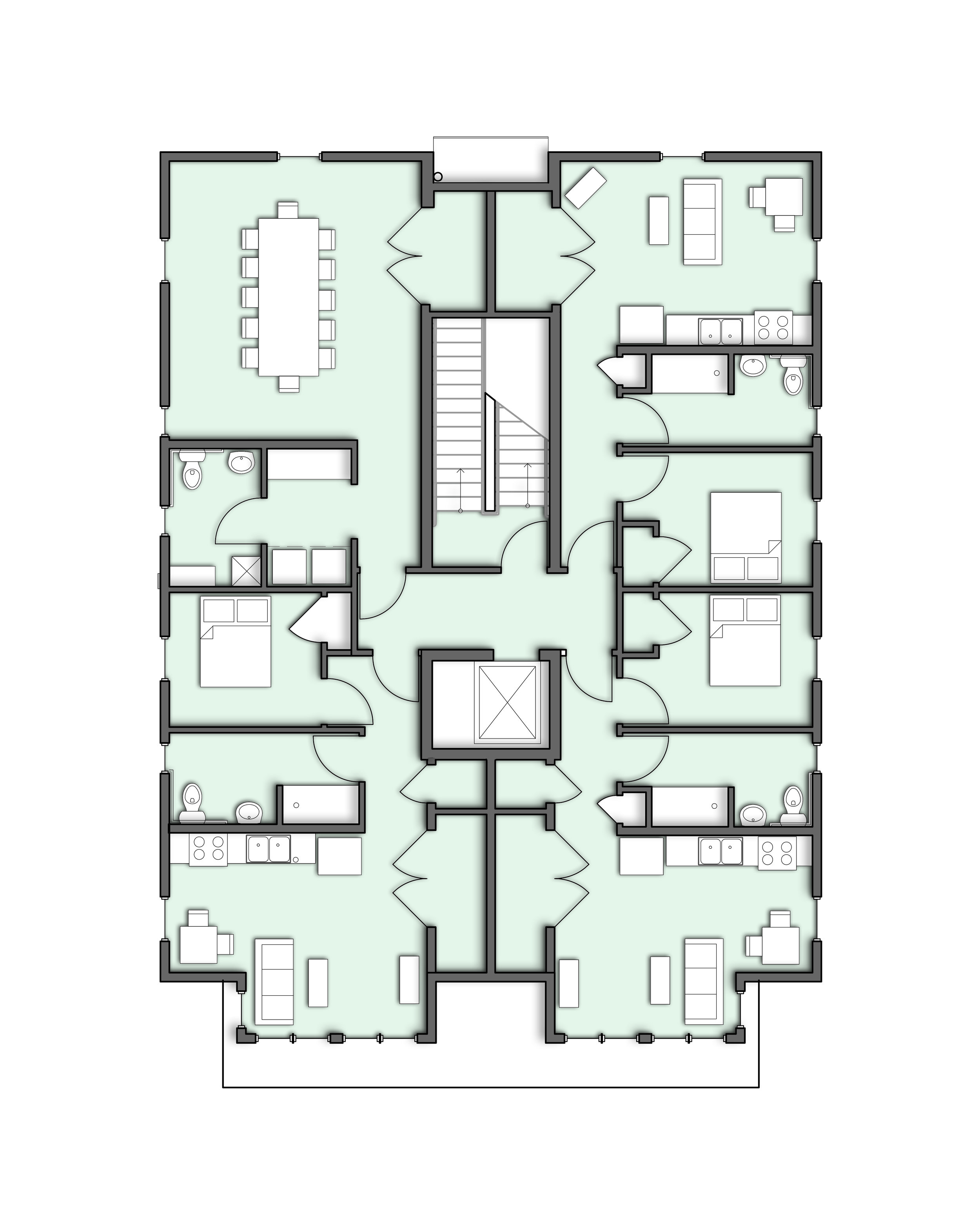 Floor plan of residential units on the 2nd and 3rd floors.  Courtesy of KITE Architects