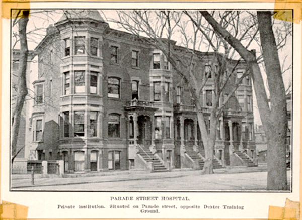 Parkview nursing home building, c 1916, before these row homes were converted to a hospital