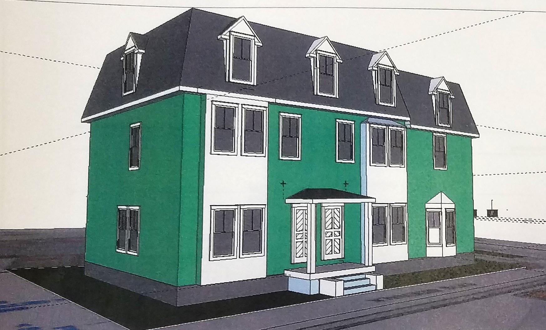 3 unit building on Messer Street side of lot