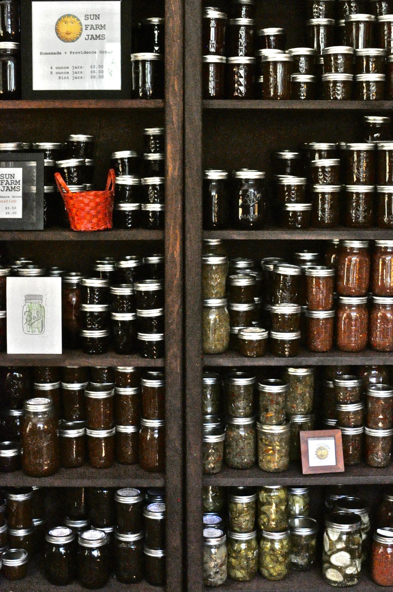 Sun Farm Jams, made from produce grown in the maker's Hammond Street garden Photo by Barbra Revill