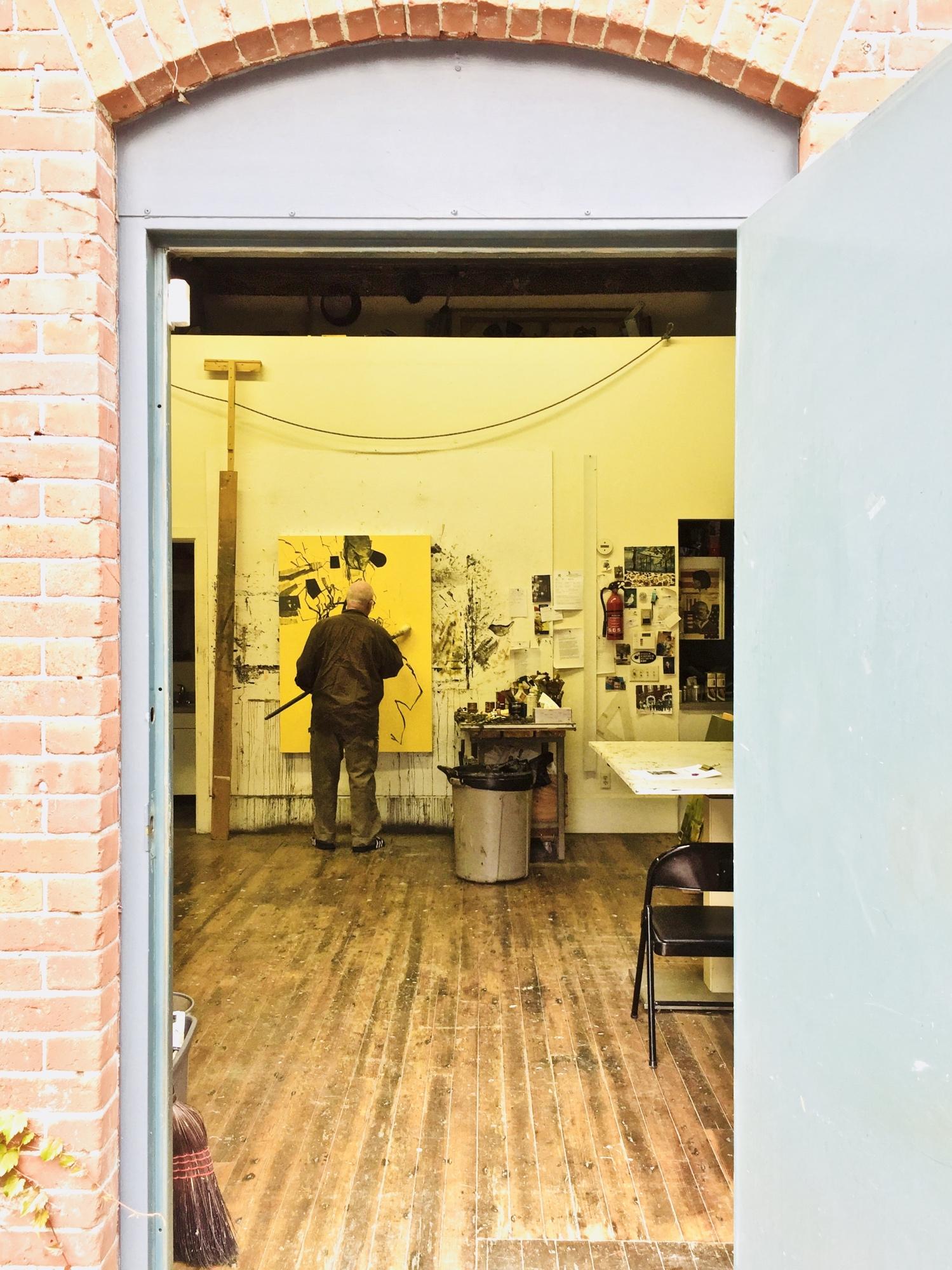 Artist David Frazer in his painting studio Photo by Barbra Revill