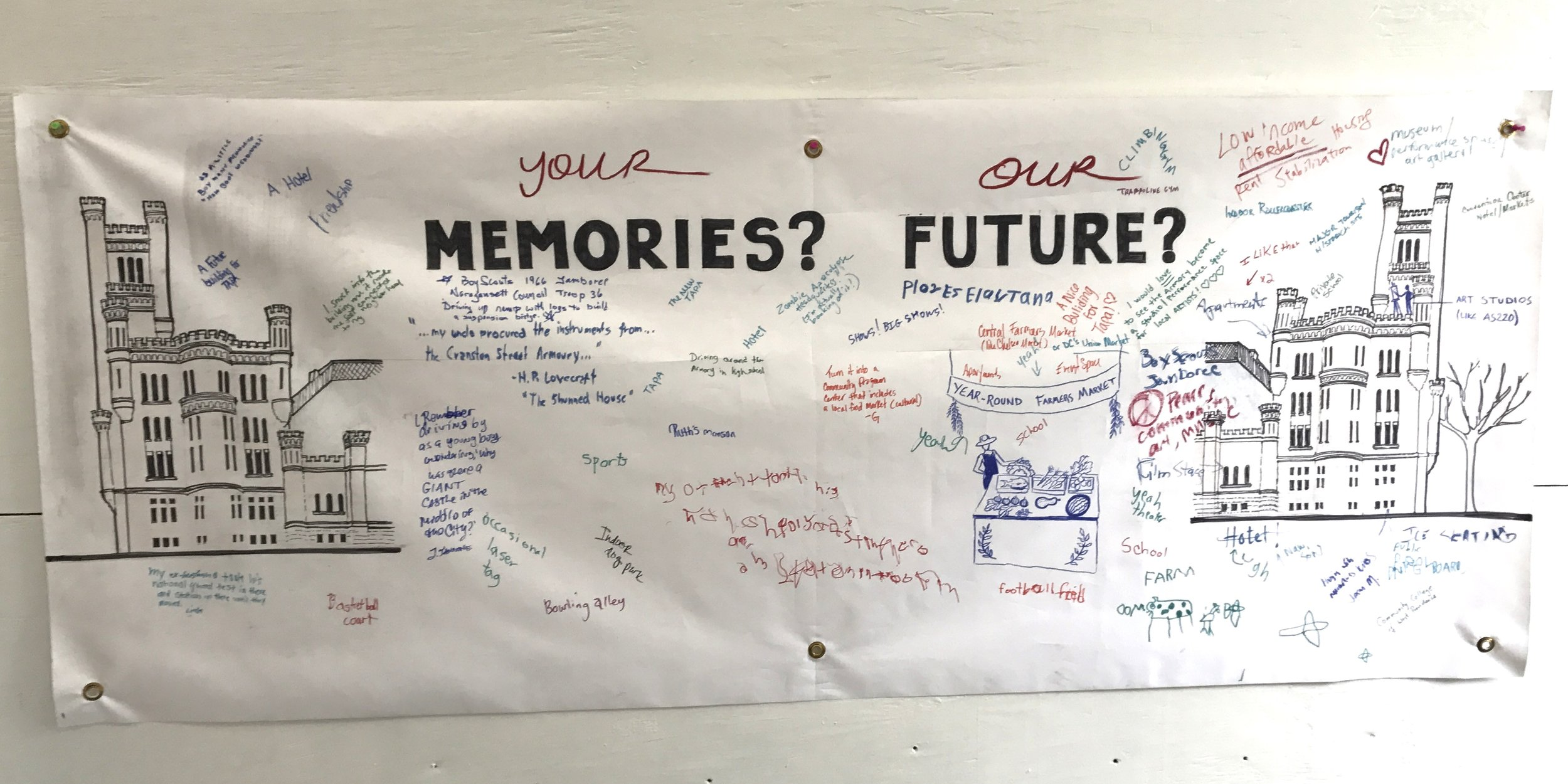 Interactive Banner capturing memories and future hopes for the Armory