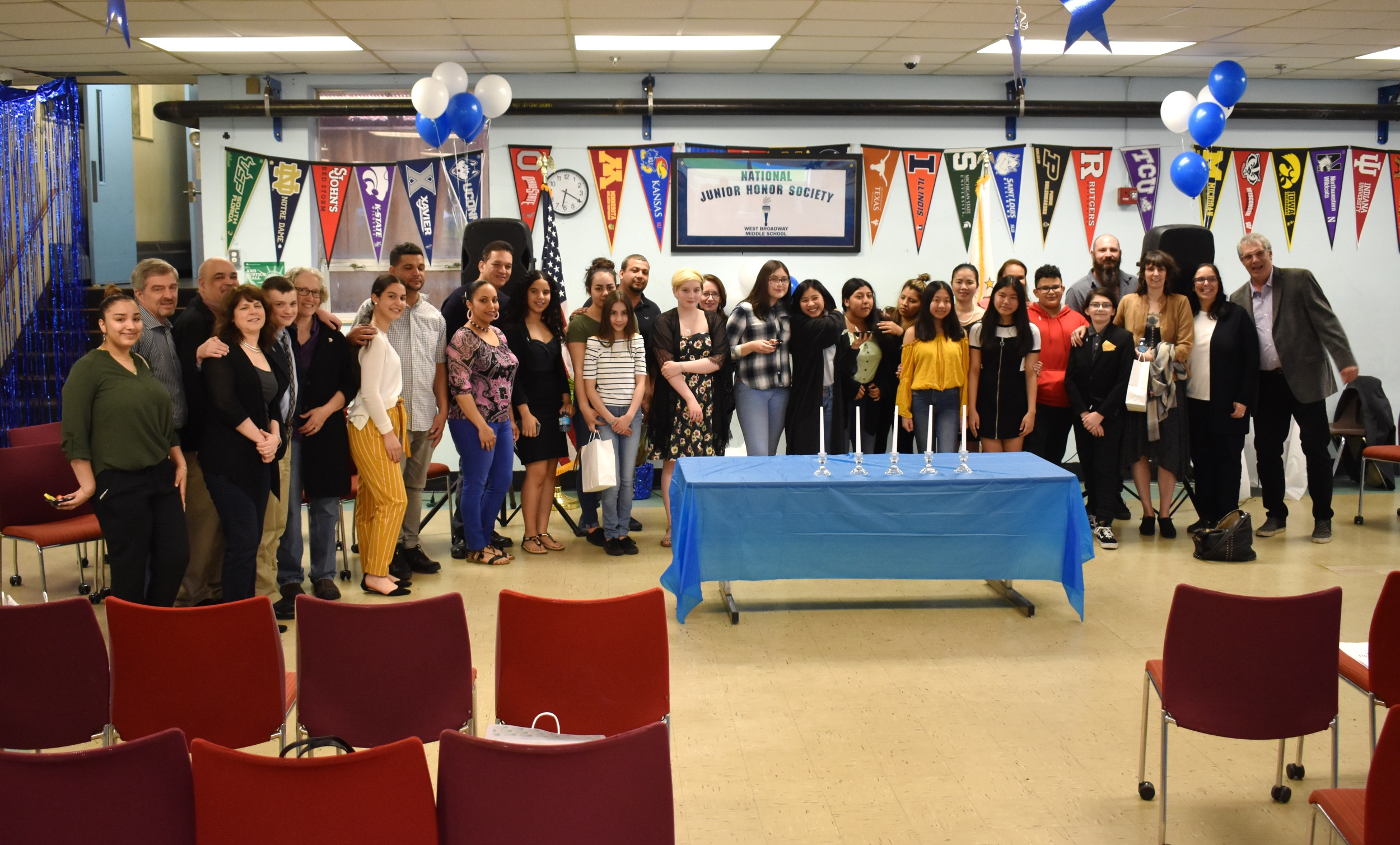 Proud students and families at West Broadway Middle School's first NJHS Induction Ceremony