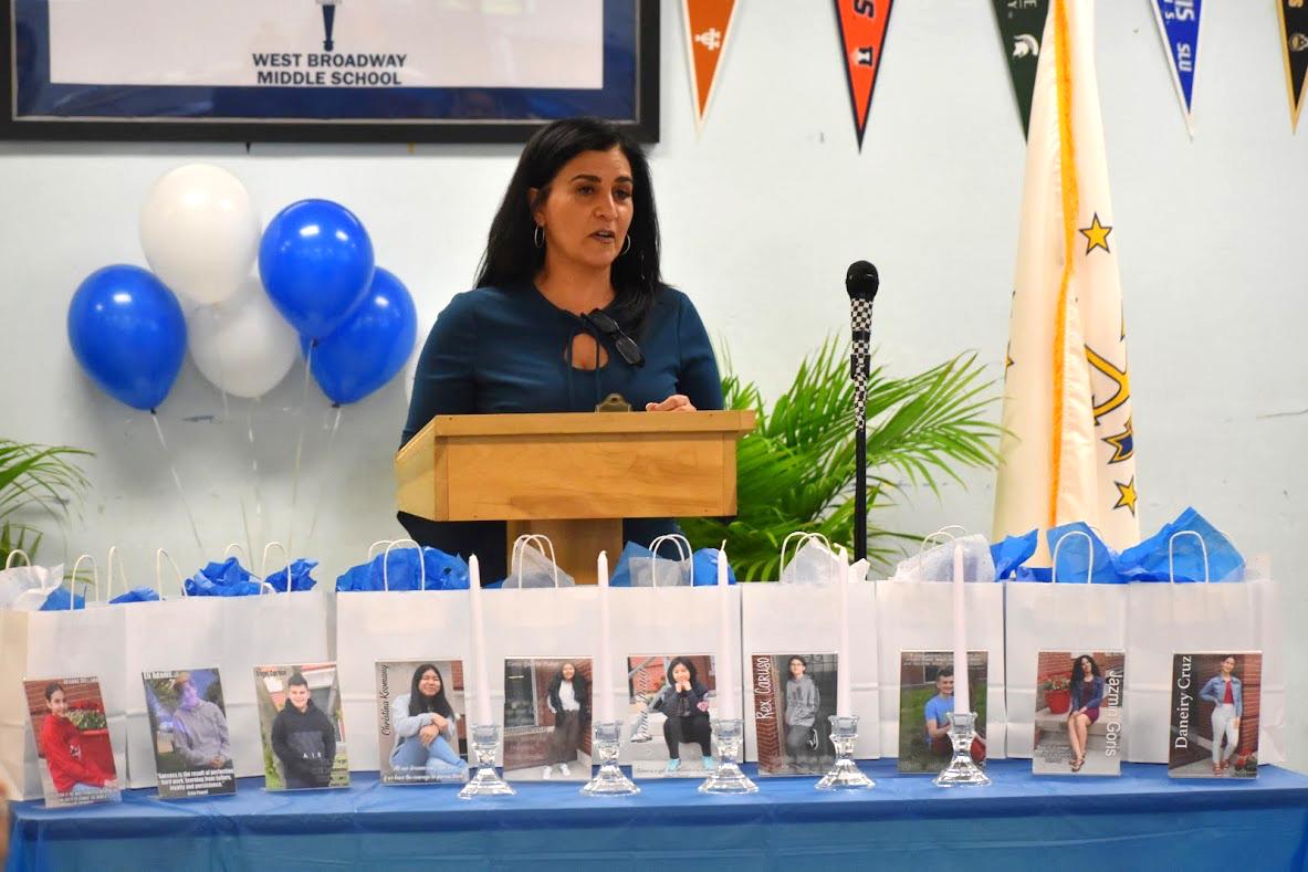 Principal Leanne Saravo honors inductees