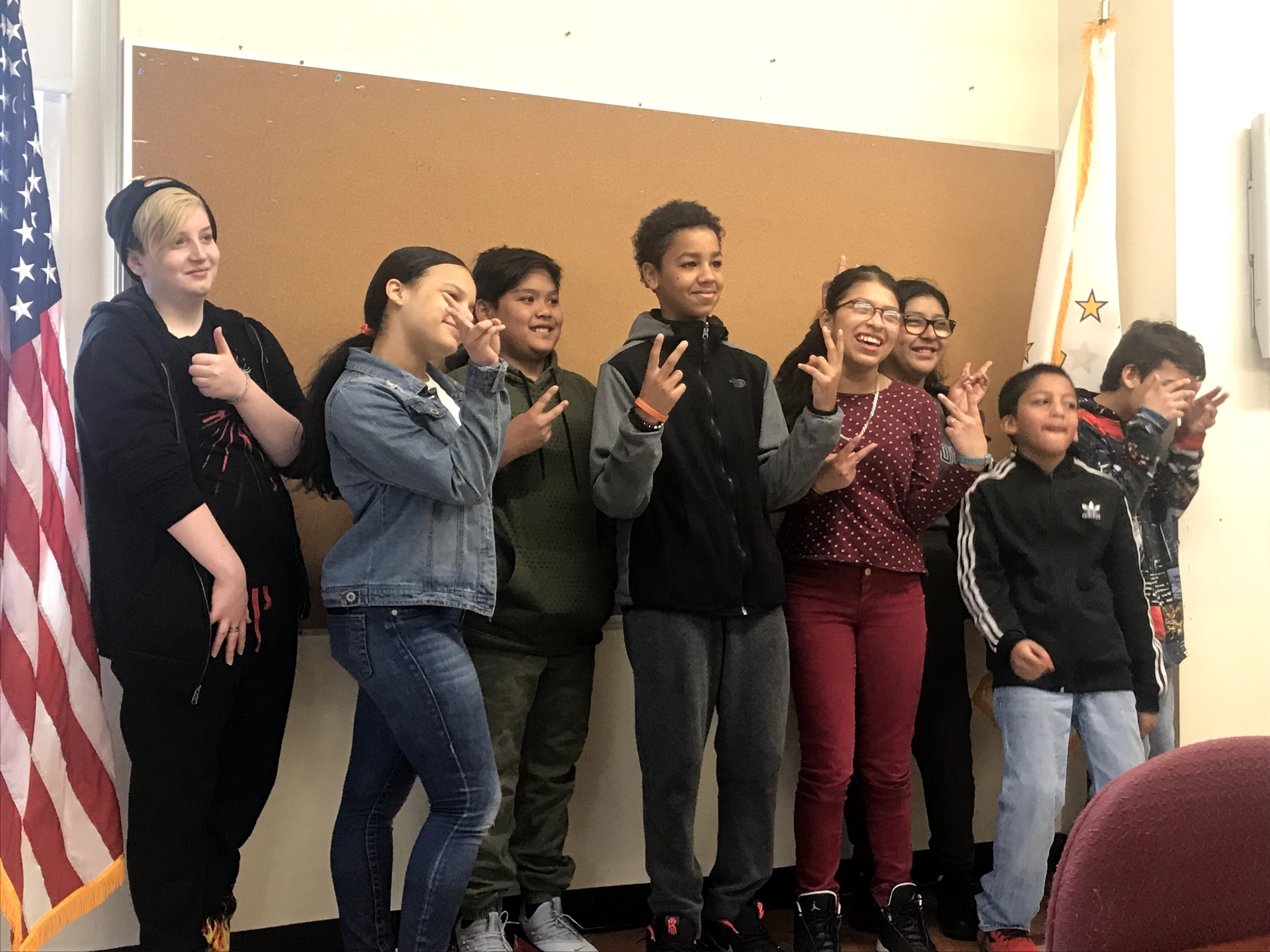 Some of the 15 newly elected members of West Broadway Middle School's first National Student Council