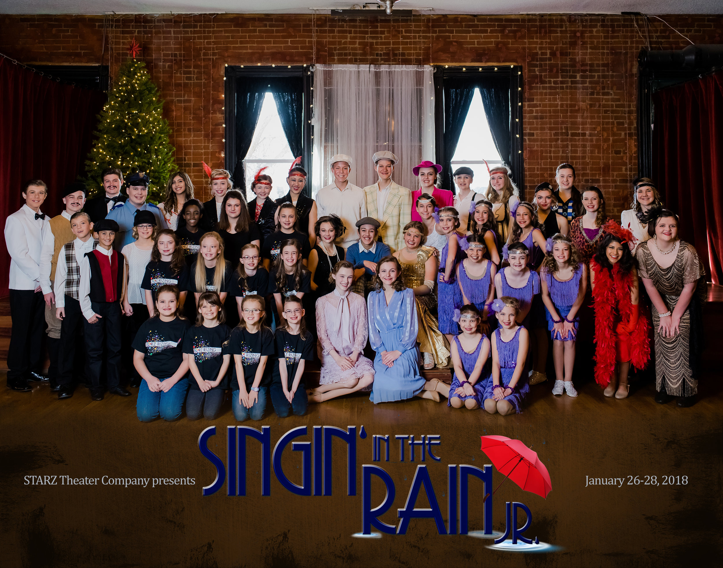 Click here  for fun pictures from the 2017-18 Season of Singin' in the Rain Jr.!  Thanks to  Amanda Lamb Photography  for the portraits, and  Endless Media Stories  for our candids off stage and on!
