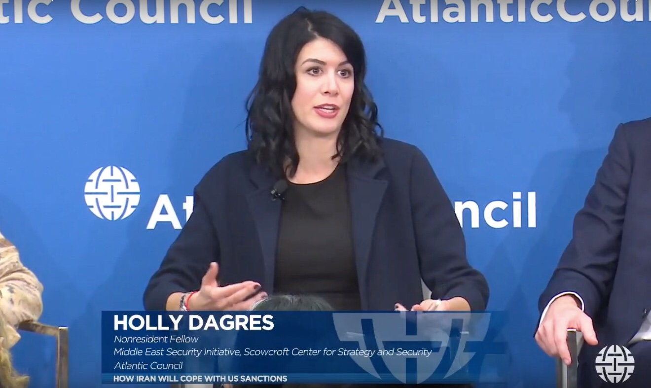Holly on a panel at the Atlantic Council on Iran sanctions in November 2018 (Atlantic Council)