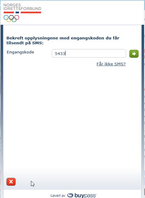 Hvis du har oppgitt rett mobilnummer vil du få tilsendt en kode for å bekrefte oppretting av bruker