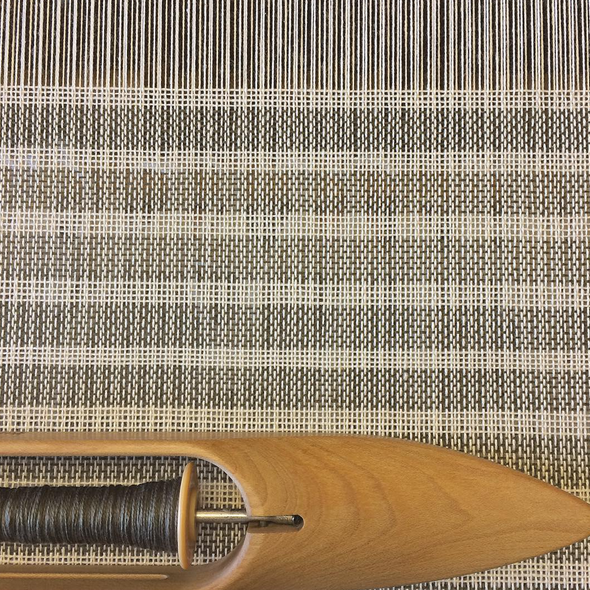 Studio view: on the loom, blanket in progress for S/S 2016 collection
